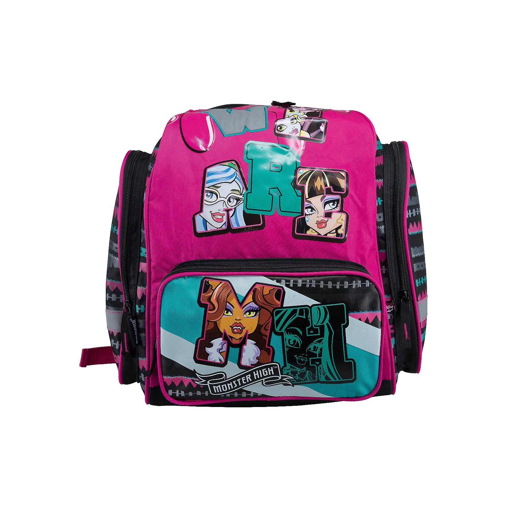 Эргономичный рюкзак, Monster HighЭргономический рюкзак, Monster High - идеальный вариант для школьных занятий. Рюкзак выполнен из прочного водонепроницаемого полиэстера розово-черной расцветки, имеет привлекательный для девочек дизайн и украшен изображениями очаровательных героинь из популярного мультсериала Школа монстров. Благодаря уплотненной спинке с толстым поролоном и воздухообменным сетчатым материалом, позвоночник ребенка не будет испытывать больших нагрузок во время эксплуатации рюкзака. Широкие лямки S-образной формы регулируются по длине и равномерно распределяют нагрузку на плечевой пояс. Также есть удобная прорезиненная ручка, за которую можно нести рюкзак. <br><br>Рюкзак закрывается на застежку-молнию, внутри одно вместительное отделение с двумя разделителями для тетрадей или учебников. На лицевой стороне расположен большой накладной карман на молнии, а также два кармана-пенала на молнии по бокам. Светоотражающие элементы обеспечивают безопасность в темное время суток.<br><br>Дополнительная информация:<br><br>- Материал: полиэстер, текстиль, пластик, поролон. <br>- Размер: 38 х 36 х 14 см.<br>- Размер упаковки: 40 x 36 x 8 см.<br>- Вес: 0,7 кг.<br><br>Эргономический рюкзак, Monster High, можно купить в нашем интернет-магазине.<br><br>Ширина мм: 140<br>Глубина мм: 360<br>Высота мм: 380<br>Вес г: 500<br>Возраст от месяцев: 120<br>Возраст до месяцев: 144<br>Пол: Женский<br>Возраст: Детский<br>SKU: 4489566