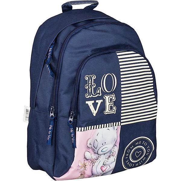 Школьный рюкзак, Me to YouШкольные рюкзаки<br>Мягкий рюкзак, Me to You, прекрасно подойдет как для школьных занятий, так и для поездок и путешествий. Он выполнен из прочного износоустойчивого материала и имеет привлекательный дизайн с темно-синей и розовой расцветкой и изображением симпатичного мишки. Благодаря уплотненной спинке с воздухообменным сетчатым материалом позвоночник ребенка не будет испытывать больших нагрузок во время эксплуатации рюкзака. Широкие лямки S-образной формы регулируются по длине и равномерно распределяют нагрузку на плечевой пояс. Также есть удобная текстильная ручка, за которую можно нести рюкзак. Рюкзак закрывается на застежку-молнию, внутри два больших отделения. На лицевой стороне расположен большой накладной карман на молнии. <br><br>Дополнительная информация:<br><br>- Материал: полиэстер, текстиль. <br>- Размер рюкзака: 26 х 11 х 35 см.<br>- Вес: 0,475 кг.<br><br>Мягкий рюкзак 26*11*35 см., Me to You, можно купить в нашем интернет-магазине.<br><br>Ширина мм: 350<br>Глубина мм: 260<br>Высота мм: 110<br>Вес г: 475<br>Возраст от месяцев: 72<br>Возраст до месяцев: 144<br>Пол: Женский<br>Возраст: Детский<br>SKU: 4489570