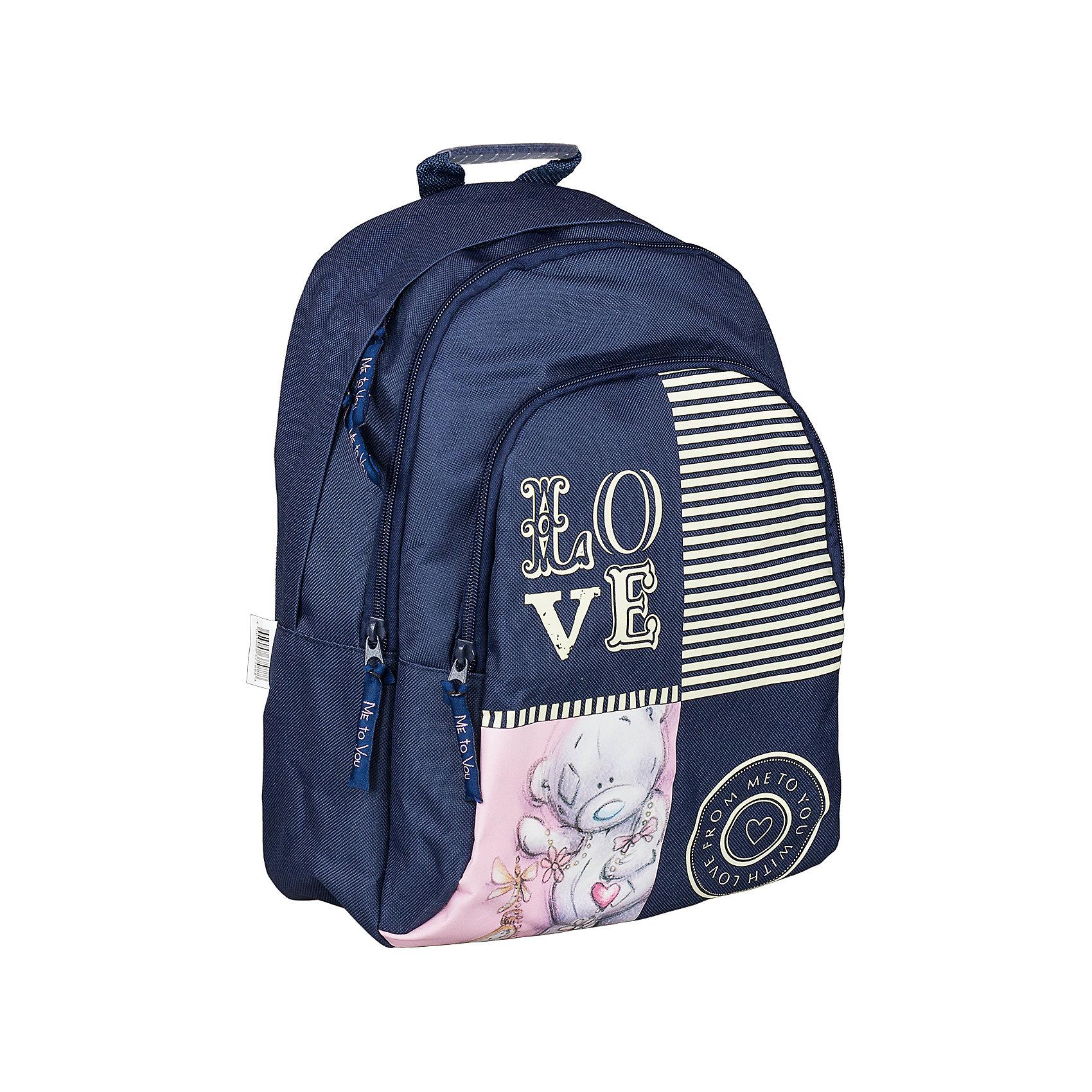 Школьный рюкзак, Me to YouMe to You<br>Мягкий рюкзак, Me to You, прекрасно подойдет как для школьных занятий, так и для поездок и путешествий. Он выполнен из прочного износоустойчивого материала и имеет привлекательный дизайн с темно-синей и розовой расцветкой и изображением симпатичного мишки. Благодаря уплотненной спинке с воздухообменным сетчатым материалом позвоночник ребенка не будет испытывать больших нагрузок во время эксплуатации рюкзака. Широкие лямки S-образной формы регулируются по длине и равномерно распределяют нагрузку на плечевой пояс. Также есть удобная текстильная ручка, за которую можно нести рюкзак. Рюкзак закрывается на застежку-молнию, внутри два больших отделения. На лицевой стороне расположен большой накладной карман на молнии. <br><br>Дополнительная информация:<br><br>- Материал: полиэстер, текстиль. <br>- Размер рюкзака: 26 х 11 х 35 см.<br>- Вес: 0,475 кг.<br><br>Мягкий рюкзак 26*11*35 см., Me to You, можно купить в нашем интернет-магазине.<br><br>Ширина мм: 350<br>Глубина мм: 260<br>Высота мм: 110<br>Вес г: 475<br>Возраст от месяцев: 72<br>Возраст до месяцев: 144<br>Пол: Женский<br>Возраст: Детский<br>SKU: 4489570
