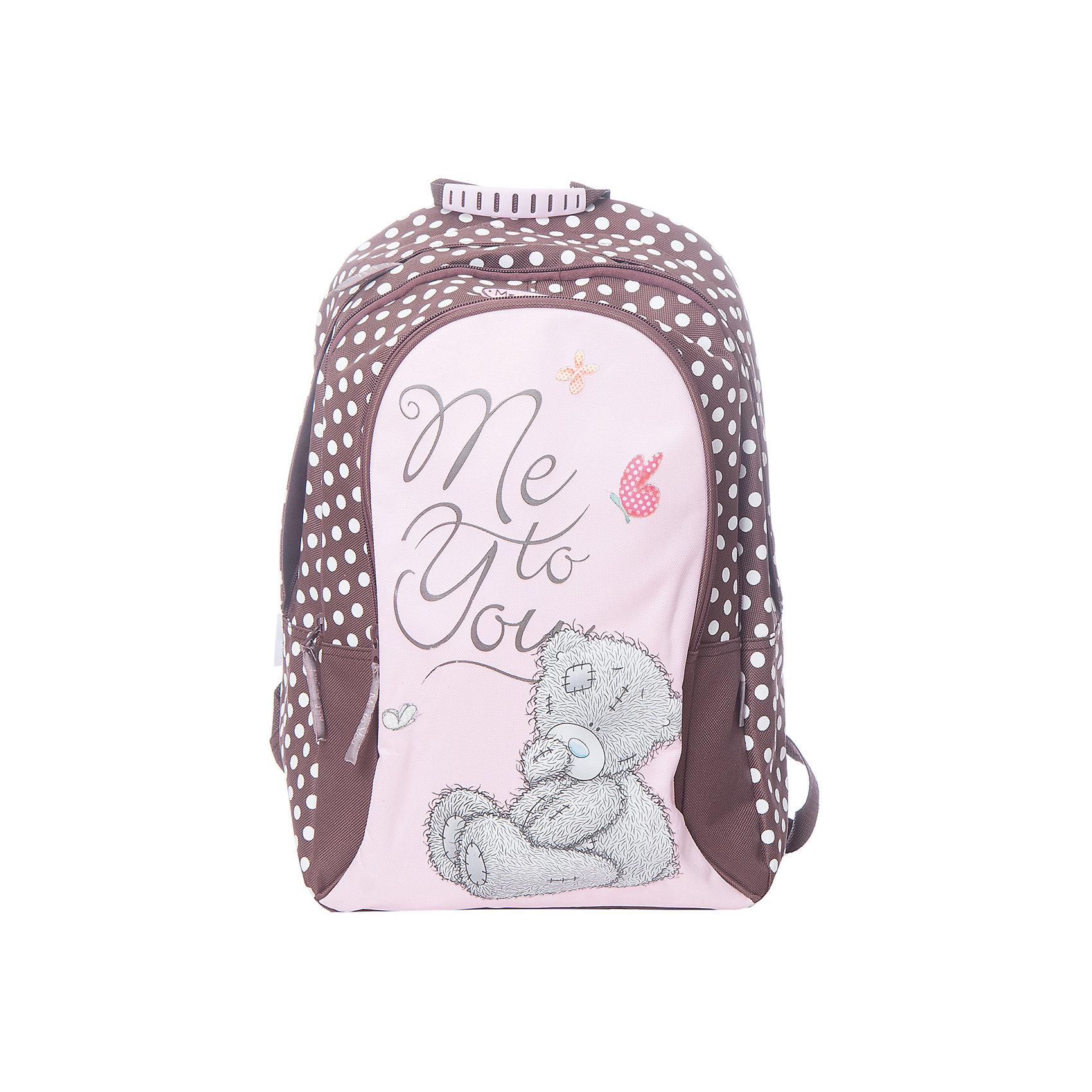 Школьный рюкзак Me to YouШкольные рюкзаки<br>Мягкий рюкзак, Me to You, прекрасно подойдет как для школьных занятий, так и для поездок и путешествий. Он выполнен из прочного износоустойчивого материала и имеет привлекательный дизайн с розово-коричневой расцветкой и изображением симпатичного мишки. Благодаря уплотненной спинке с воздухообменным сетчатым материалом позвоночник ребенка не будет испытывать больших нагрузок во время эксплуатации рюкзака. Широкие лямки S-образной формы регулируются по длине и равномерно распределяют нагрузку на плечевой пояс. Также есть удобная текстильная ручка с резиновой накладкой для переноски в руках. Рюкзак закрывается на застежку-молнию, внутри два больших отделения. На лицевой стороне расположен большой накладной карман на молнии. Светоотражающие элементы обеспечивают безопасность в темное время суток.<br><br>Дополнительная информация:<br><br>- Материал: полиэстер, текстиль. <br>- Размер рюкзака: 31 х 14,5 х 44 см.<br>- Вес: 0,62 кг.<br><br>Мягкий рюкзак 31*14,5*44 см., Me to You, можно купить в нашем интернет-магазине.<br><br>Ширина мм: 440<br>Глубина мм: 310<br>Высота мм: 145<br>Вес г: 620<br>Возраст от месяцев: 72<br>Возраст до месяцев: 144<br>Пол: Женский<br>Возраст: Детский<br>SKU: 4489572