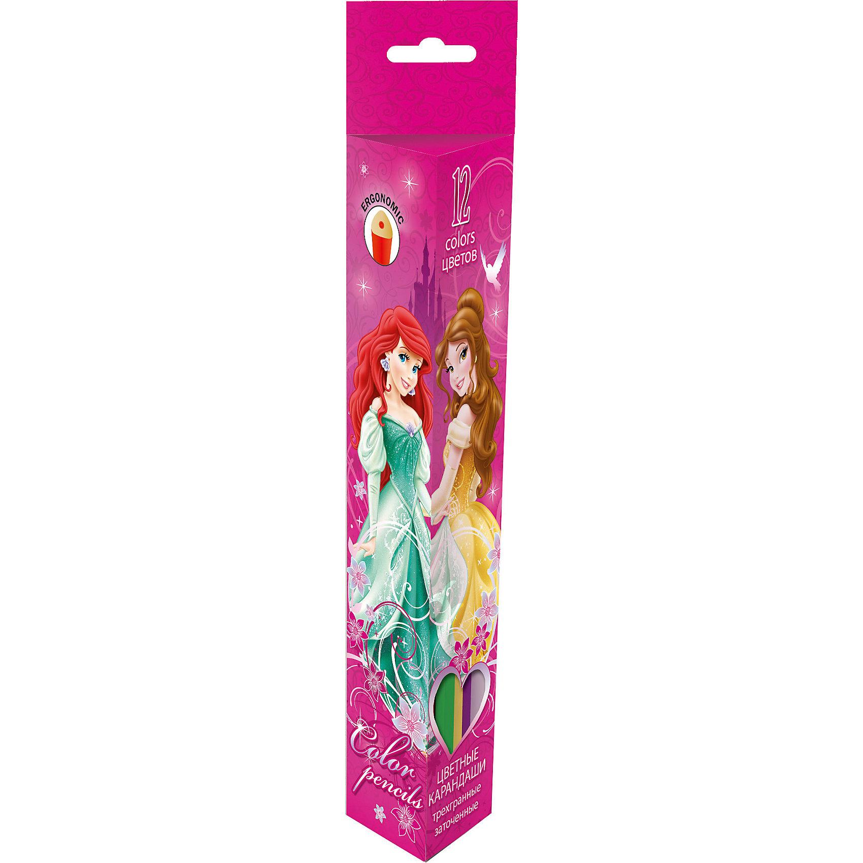 Цветные треугольные карандаши 12 шт, Принцессы ДиснейЦветные карандаши - необходимый инструмент для детского творчества и школьных занятий. Цветные карандаши Принцессы Дисней упакованы в розовую картонную коробочку, украшенную изображениями волшебных принцесс из популярных диснеевских мультфильмов. В комплекте 12 заточенных карандашей с треугольным корпусом. Прочный цветной грифель 3 мм.<br><br>Дополнительная информация:<br><br>- В комплекте: 12 шт.<br>- Материал: дерево (тополь), графит.<br>- Длина карандашей: 17,8 см.<br>- Размер упаковки: 18 х 12,5 х 1,5 см.<br>- Вес: 68 гр.<br><br>Цветные треугольные карандаши 12 шт., Принцессы Дисней, можно купить в нашем интернет-магазине.<br><br>Ширина мм: 45<br>Глубина мм: 25<br>Высота мм: 215<br>Вес г: 68<br>Возраст от месяцев: 48<br>Возраст до месяцев: 84<br>Пол: Женский<br>Возраст: Детский<br>SKU: 4489576