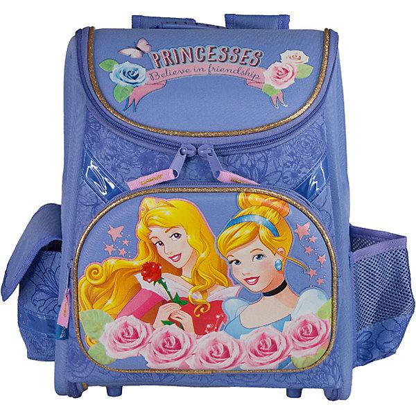 Школьный ранец с EVA-спинкой, Принцессы ДиснейРанцы<br>Ранец с EVA-спинкой, Принцессы Дисней - идеальный вариант для школьных занятий. Ранец выполнен из прочного полиэстера приятной сиреневой расцветки, имеет привлекательный для девочек дизайн и украшен изображениями волшебных принцесс из популярных диснеевских мультфильмов. Благодаря плотной эргономической спинке позвоночник ребенка не будет испытывать больших нагрузок во время эксплуатации ранца. Широкие лямки S-образной формы регулируются по длине и равномерно распределяют нагрузку на плечевой пояс. Также есть удобная текстильная ручка с резиновой накладкой, за которую можно нести ранец. Жесткое устойчивое дно с пластиковыми ножками защитит содержимое от промокания.<br><br>Ранец закрывается на застежку-молнию с двумя бегунками, полностью раскладывается. Внутри одно большое отделение с двумя разделителями для тетрадей и книг и утягивающей резинкой, подходит для размещения предметов без сложения, размером до А4 формата включительно. На лицевой стороне расположен большой накладной карман на молнии, а также два маленьких кармана по бокам - один на липучке, второй открытый сетчатый. Светоотражающие элементы обеспечивают безопасность в темное время суток.<br><br>Дополнительная информация:<br><br>- Материал: полиэстер, текстиль, пластик. <br>- Размер ранца: 35 х 31 х 14 см.<br>- Размер упаковки: 36 х 32 х 17 см. <br>- Вес: 0,833 кг.<br><br>Ранец с EVA-спинкой, Принцессы Дисней, можно купить в нашем интернет-магазине.<br><br>Ширина мм: 140<br>Глубина мм: 310<br>Высота мм: 350<br>Вес г: 833<br>Возраст от месяцев: 72<br>Возраст до месяцев: 84<br>Пол: Женский<br>Возраст: Детский<br>SKU: 4489578