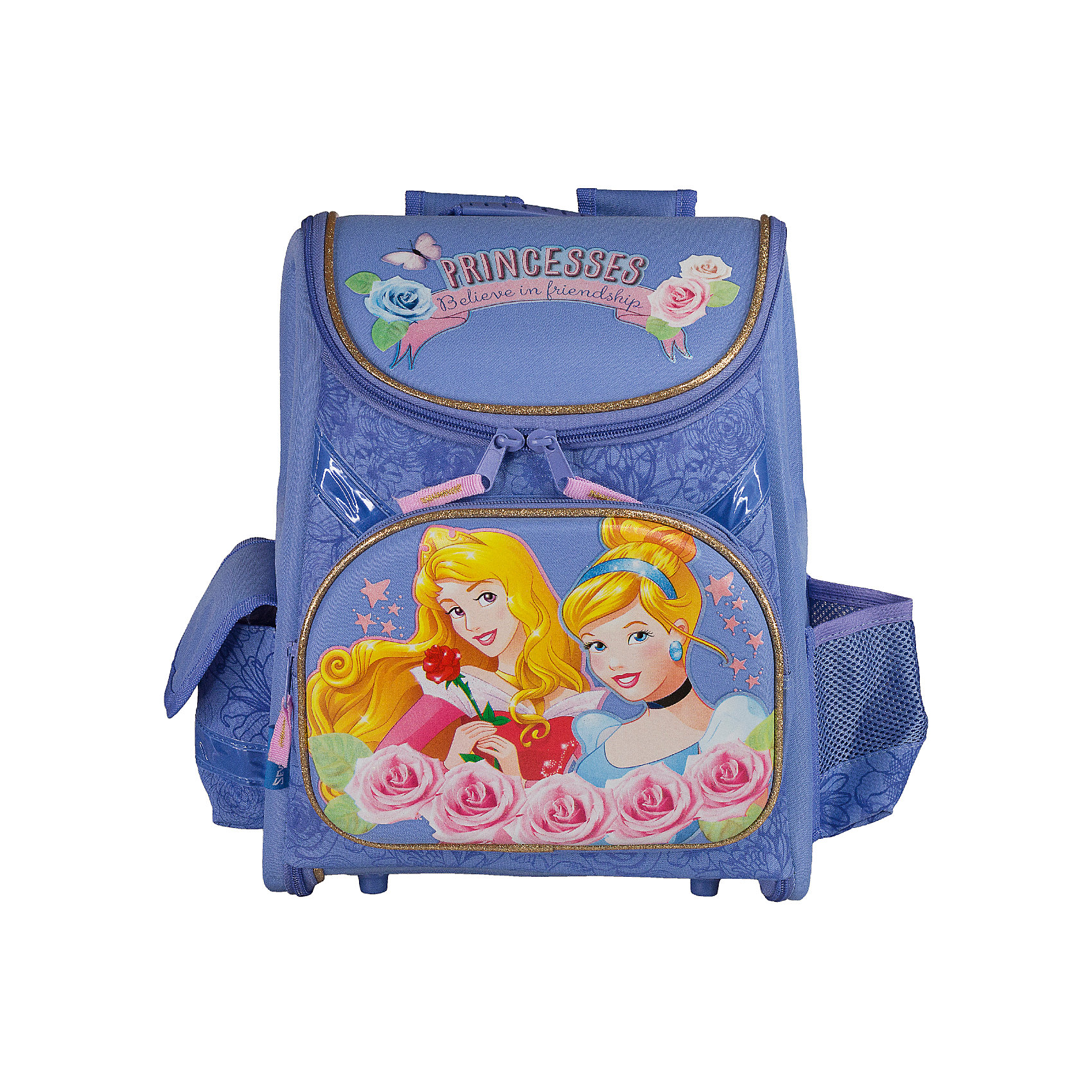 Школьный ранец с EVA-спинкой, Принцессы ДиснейРанец с EVA-спинкой, Принцессы Дисней - идеальный вариант для школьных занятий. Ранец выполнен из прочного полиэстера приятной сиреневой расцветки, имеет привлекательный для девочек дизайн и украшен изображениями волшебных принцесс из популярных диснеевских мультфильмов. Благодаря плотной эргономической спинке позвоночник ребенка не будет испытывать больших нагрузок во время эксплуатации ранца. Широкие лямки S-образной формы регулируются по длине и равномерно распределяют нагрузку на плечевой пояс. Также есть удобная текстильная ручка с резиновой накладкой, за которую можно нести ранец. Жесткое устойчивое дно с пластиковыми ножками защитит содержимое от промокания.<br><br>Ранец закрывается на застежку-молнию с двумя бегунками, полностью раскладывается. Внутри одно большое отделение с двумя разделителями для тетрадей и книг и утягивающей резинкой, подходит для размещения предметов без сложения, размером до А4 формата включительно. На лицевой стороне расположен большой накладной карман на молнии, а также два маленьких кармана по бокам - один на липучке, второй открытый сетчатый. Светоотражающие элементы обеспечивают безопасность в темное время суток.<br><br>Дополнительная информация:<br><br>- Материал: полиэстер, текстиль, пластик. <br>- Размер ранца: 35 х 31 х 14 см.<br>- Размер упаковки: 36 х 32 х 17 см. <br>- Вес: 0,833 кг.<br><br>Ранец с EVA-спинкой, Принцессы Дисней, можно купить в нашем интернет-магазине.<br><br>Ширина мм: 140<br>Глубина мм: 310<br>Высота мм: 350<br>Вес г: 833<br>Возраст от месяцев: 48<br>Возраст до месяцев: 84<br>Пол: Женский<br>Возраст: Детский<br>SKU: 4489578