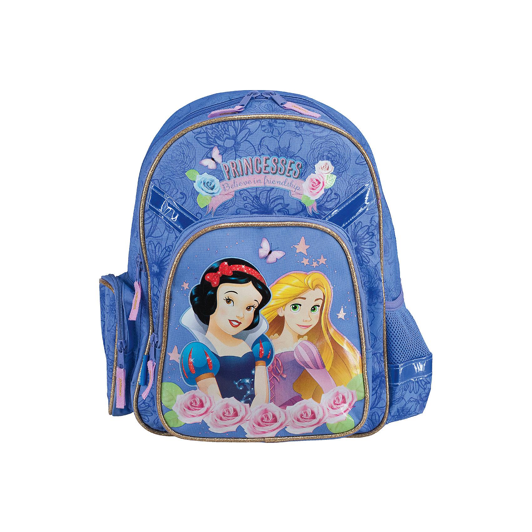 Эргономичный рюкзак с EVA-спинкой, Принцессы ДиснейРюкзак с эргономической EVA-спинкой, Принцессы Дисней - идеальный вариант для школьных занятий. Рюкзак выполнен из прочного полиэстера светло-сиреневой расцветки, имеет привлекательный для девочек дизайн и украшен изображениями волшебных принцесс из популярных диснеевских мультфильмов. Благодаря эргономической EVA-спинке с воздухообменным сетчатым материалом позвоночник ребенка не будет испытывать больших нагрузок во время эксплуатации рюкзака. Широкие лямки S-образной формы регулируются по длине и равномерно распределяют нагрузку на плечевой пояс. Также есть удобная текстильная ручка с резиновой накладкой, за которую можно нести рюкзак. Жесткое дно в виде раскладной панели с пластиковой вставкой защитит содержимое от повреждений. <br><br>Рюкзак закрывается на застежку-молнию. Внутри два больших отделения на молнии, основное отделение с двумя перегородками для тетрадей или учебников. На лицевой стороне расположен большой накладной карман на молнии, с одной из боковых сторон - сетчатый карман, с другой - закрытый карман на молнии. Светоотражающие элементы обеспечивают безопасность в темное время суток.<br><br>Дополнительная информация:<br><br>- Материал: полиэстер, текстиль, пластик, металл. <br>- Размер рюкзака: 38 х 29 х 15 см.<br>- Размер упаковки: 40 х 37 х 6 см.<br>- Вес: 0,704 кг.<br><br>Рюкзак с эргономической EVA-спинкой, Принцессы Дисней, можно купить в нашем интернет-магазине.<br><br>Ширина мм: 150<br>Глубина мм: 290<br>Высота мм: 380<br>Вес г: 704<br>Возраст от месяцев: 48<br>Возраст до месяцев: 84<br>Пол: Женский<br>Возраст: Детский<br>SKU: 4489580