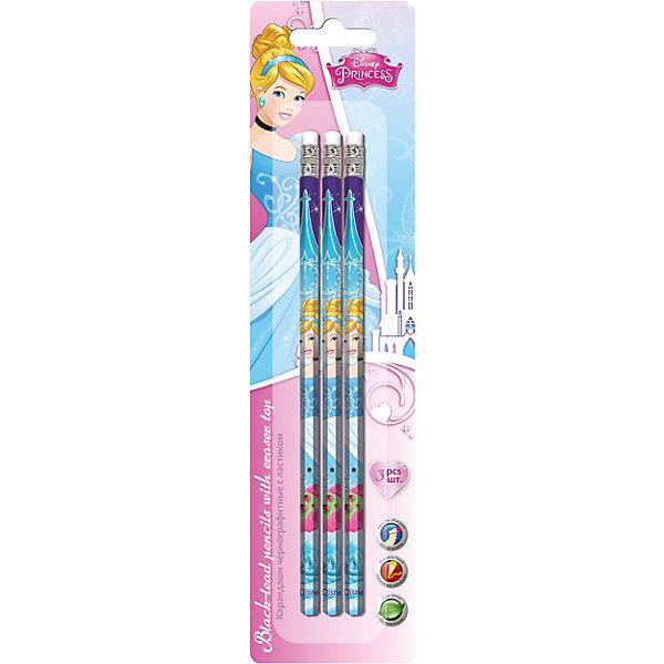 Чернографитные карандаши 3 шт, Принцессы Дисней