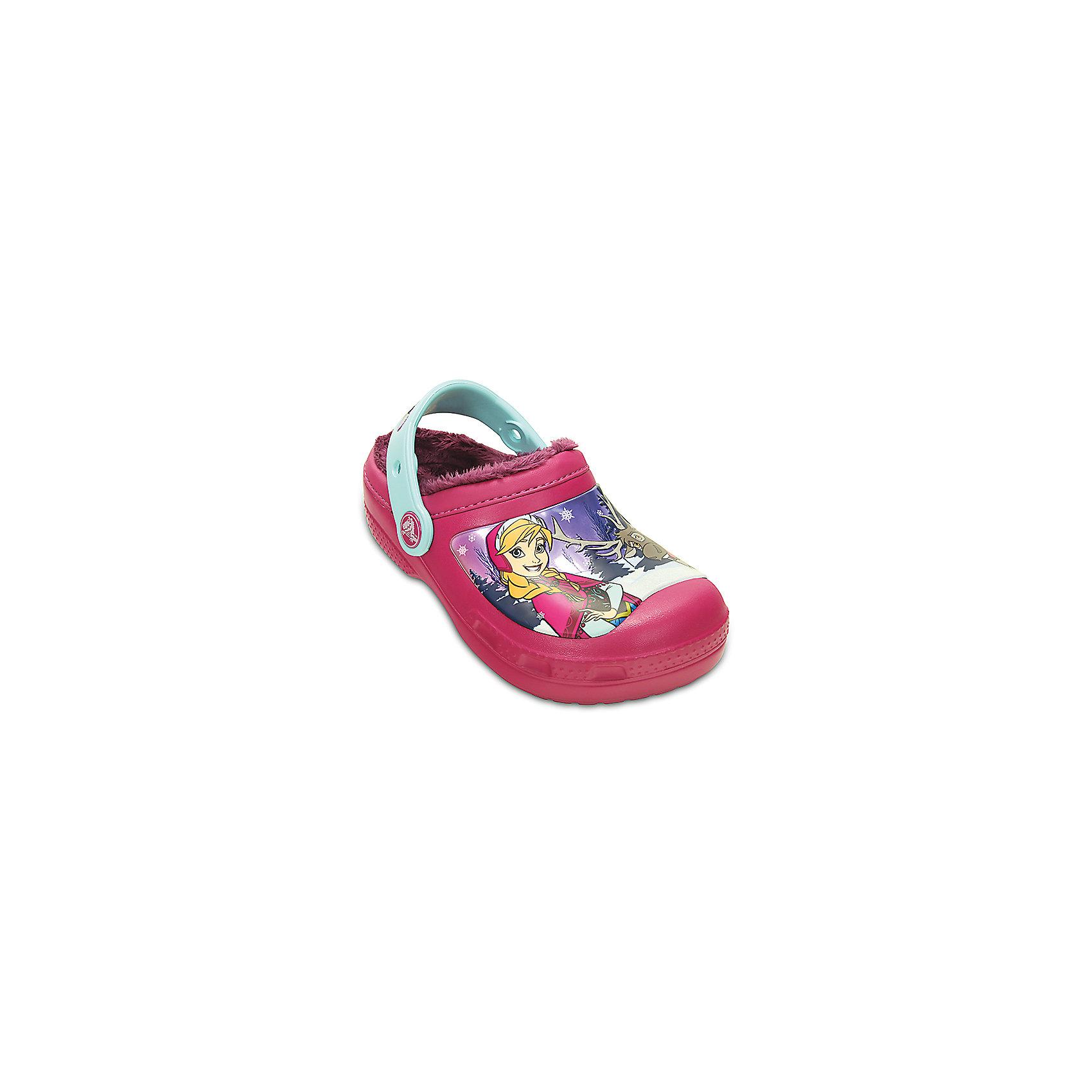 Сабо для девочки CrocsСабо от известного бренда Crocs с изображением любимых героев из мультфильма Холодное сердце.<br><br><br>Секрет фирменного комфорта<br>Crocs – уникальный инновационный материал Croslite™.<br>Croslite™ (крослайт) используется при производстве любой пары обуви<br>Crocs. Это отличительная особенность обуви Crocs, секрет ее комфорта и<br>уникальности – то, что делает каждую модель Crocs удобной, легкой,<br>яркой.<br><br>Материал Croslite™ легок в уходе: быстро сохнет и не оставляет следов. Анатомическая стелька с массажными линиями для стимуляции кровообращения. Вентиляционные отверстия для свободного доступа воздуха. При загрязнении используйте прохладную воду и мыло. Не подвергайте сабо воздействию высоких температур.<br><br>Состав: 100% полимер Croslite™<br><br>Ширина мм: 262<br>Глубина мм: 176<br>Высота мм: 97<br>Вес г: 427<br>Цвет: фиолетовый<br>Возраст от месяцев: 84<br>Возраст до месяцев: 96<br>Пол: Женский<br>Возраст: Детский<br>Размер: 31/32<br>SKU: 4492038