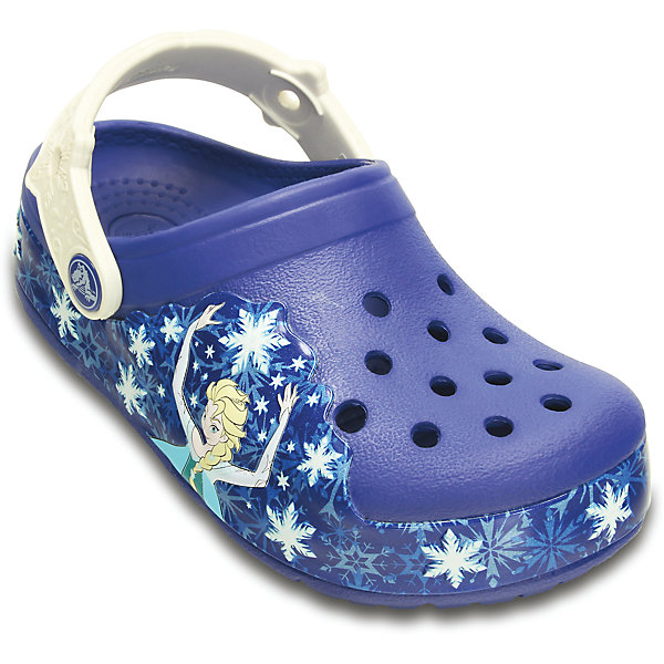 Сабо Lights Frzen Clg K для девочки CrocsПляжная обувь<br>Характеристики товара:<br><br>• цвет: синий<br>• материал: 100% полимер Croslite™<br>• под воздействием температуры тела принимают форму стопы<br>• литая модель<br>• вентиляционные отверстия<br>• бактериостатичный материал<br>• пяточный ремешок фиксирует стопу<br>• толстая устойчивая подошва<br>• отверстия для использования украшений<br>• анатомическая стелька с массажными точками стимулирует кровообращение<br>• страна бренда: США<br>• страна изготовитель: Китай<br><br>Для правильного развития ребенка крайне важно, чтобы обувь была удобной. Такие сабо обеспечивают детям необходимый комфорт, а анатомическая стелька с массажными линиями для стимуляции кровообращения позволяет ножкам дольше не уставать. Сабо легко надеваются и снимаются, отлично сидят на ноге. Материал, из которого они сделаны, не дает размножаться бактериям, поэтому такая обувь препятствует образованию неприятного запаха и появлению болезней стоп. <br>Обувь от американского бренда Crocs в данный момент завоевала широкую популярность во всем мире, и это не удивительно - ведь она невероятно удобна. Её носят врачи, спортсмены, звёзды шоу-бизнеса, люди, которым много времени приходится бывать на ногах - они понимают, как важна комфортная обувь. Продукция Crocs - это качественные товары, созданные с применением новейших технологий. Обувь отличается стильным дизайном и продуманной конструкцией. Изделие производится из качественных и проверенных материалов, которые безопасны для детей.<br><br>Сабо для девочки  от торговой марки Crocs можно купить в нашем интернет-магазине.<br>Ширина мм: 262; Глубина мм: 176; Высота мм: 97; Вес г: 427; Цвет: синий; Возраст от месяцев: 84; Возраст до месяцев: 96; Пол: Женский; Возраст: Детский; Размер: 32/33,34/35,33/34,31/32,26,25,23,30,29,27,28,24; SKU: 4492056;