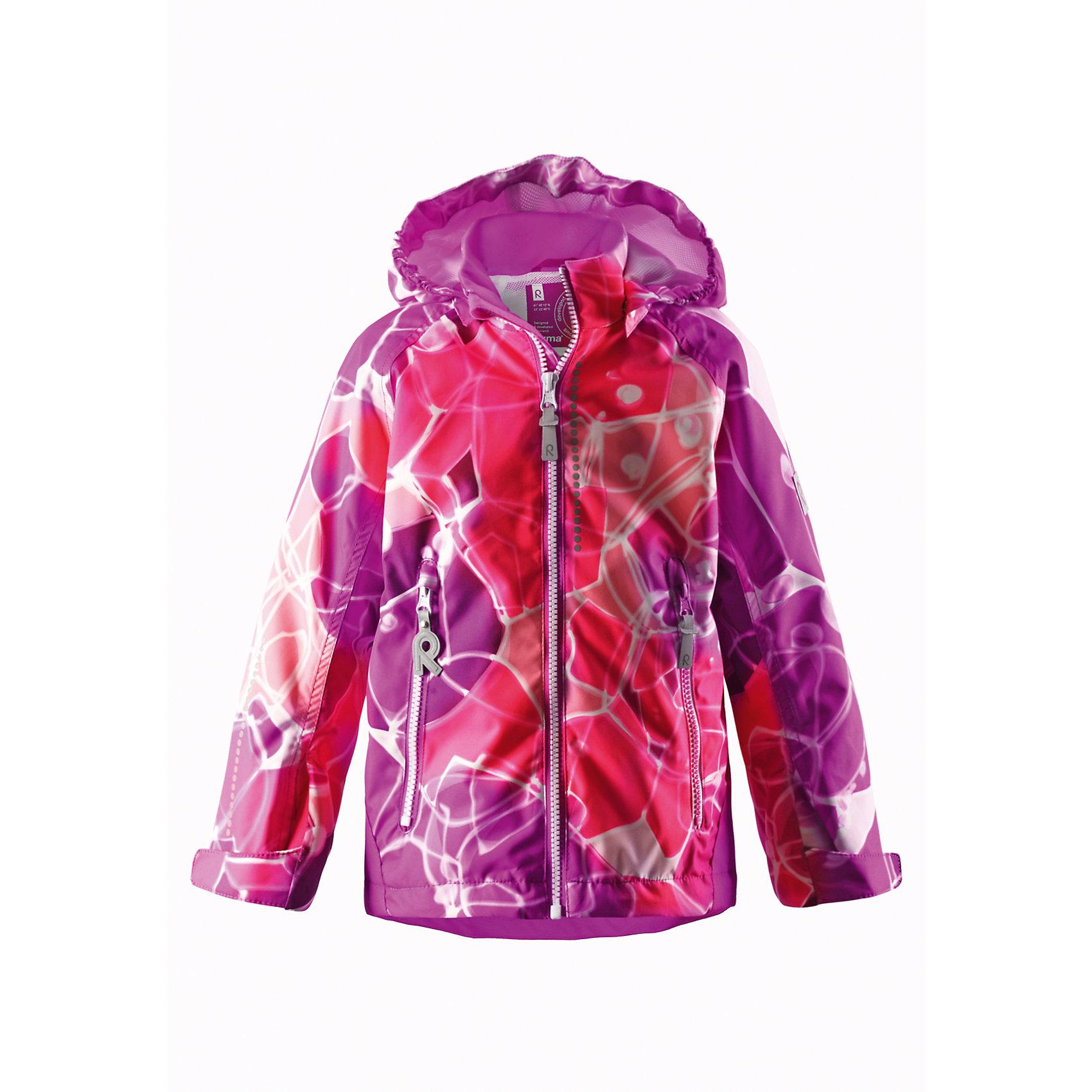 Куртка для девочки ReimaОдежда<br>Прекрасная куртка для детей для повседневной носки, с прочными усилительными вставками и отличным внешним видом. Разработана для активных видов отдыха и очень активных детей! Куртка выполнена из водо- и грязеотталкивающего материала, а основные швы проклеены для создания водонепроницаемости, чтобы предотвратить проникновение осадков. Подкладка из сетки обеспечивает удобство носки, так как гарантирует хорошую вентиляцию и способность материала пропускать воздух. Карманы на молнии разработаны для хранения маленьких «сокровищ» во время веселых игр на свежем воздухе. <br><br>Дополнительная информация:<br><br>Куртка демисезонная для детей Kiddo®<br>Основные швы проклеены и не пропускают влагу<br>Прочные усиленные вставки на рукавах и спинке<br>Водоотталкивающий, ветронепроницаемый и «дышащий» материал<br>Подкладка из mesh-сетки<br>Безопасный, съемный капюшон<br>Регулируемые манжеты и подол<br>Два кармана на молнии<br>Безопасные светоотражающие детали<br>Состав:<br>100% ПЭ, ПУ-покрытие<br>Уход:<br>Стирать по отдельности, вывернув наизнанку. Застегнуть молнии и липучки. Стирать моющим средством, не содержащим отбеливающие вещества. Полоскать без специального средства. Во избежание изменения цвета изделие необходимо вынуть из стиральной машинки незамедлительно после окончания программы стирки. Сушить при низкой температуре.<br><br>Ширина мм: 356<br>Глубина мм: 10<br>Высота мм: 245<br>Вес г: 519<br>Цвет: розовый<br>Возраст от месяцев: 12<br>Возраст до месяцев: 24<br>Пол: Женский<br>Возраст: Детский<br>Размер: 92,104,110,122,128,140,134,116,98<br>SKU: 4496823