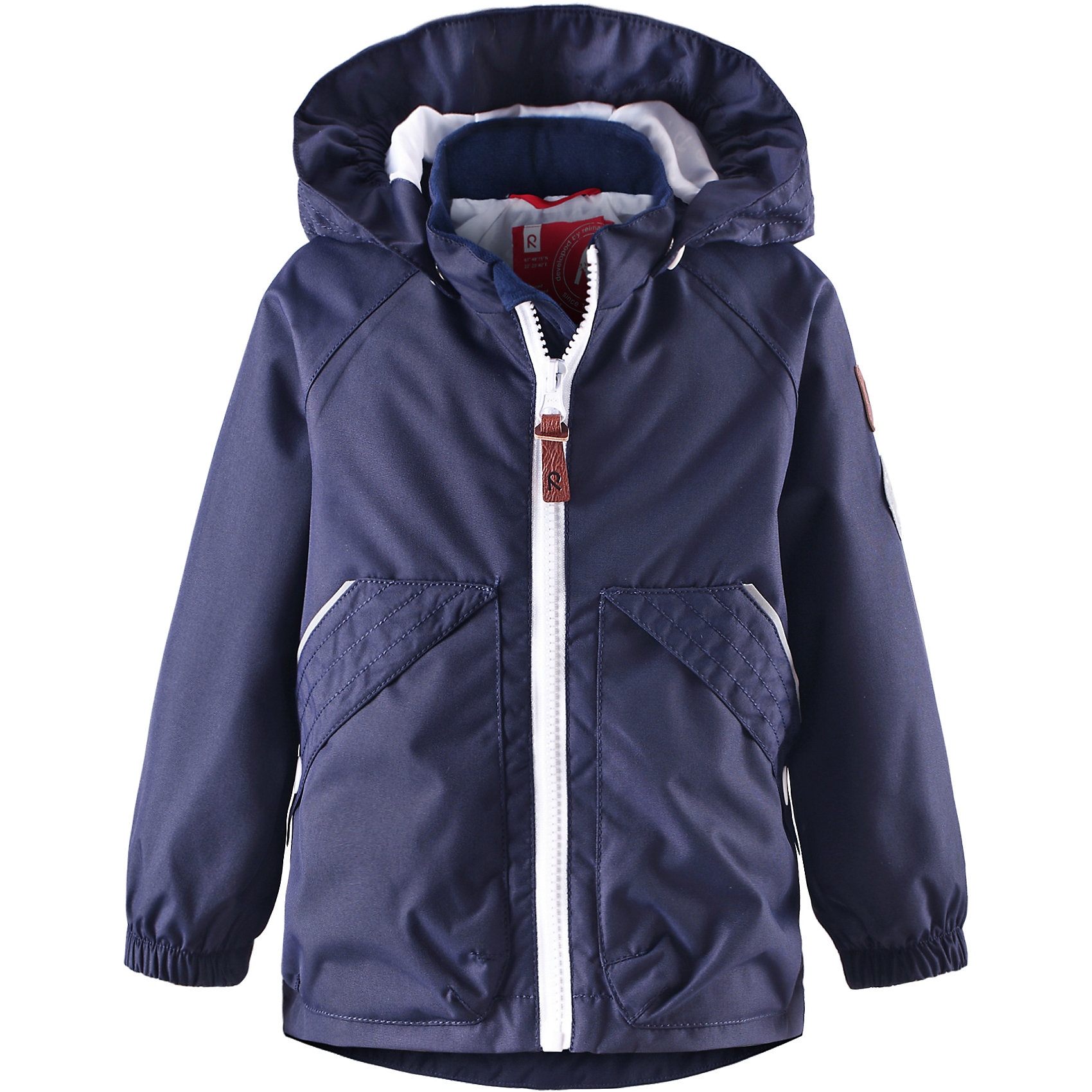Куртка для мальчика ReimaОдежда<br>Эта элегантная демисезонная куртка для малышей – идеальный выбор для игр на открытом воздухе весной и осенью. Основные швы этой водо- и грязеотталкивающей куртки проклеены, поэтому никакой мелкий дождь не помешает игре на воздухе. Материал куртки – ветронепроницаемый, но дышащий, и не позволяющий коже потеть. Подкладка куртки из гладкого полиэстера облегчает процесс одевания. Съемный капюшон не только защищает от пронизывающего ветра, но и обеспечивает безопасность во время игр на воздухе, так как капюшон легко отстегивается, если он, например, зацепился за ветку дерева. Два кармана на молнии надежно сохранят маленькие ценные предметы, а светоотражающие детали гарантируют, что ваших маленьких любителей приключений будет видно в темноте.<br><br>Дополнительная информация:<br><br>Куртка демисезонная для малышей<br>Водонепроницаемость: 10000 мм<br>Основные швы проклеены и не пропускают влагу<br>Водоотталкивающий, ветронепроницаемый и «дышащий» материал<br>Гладкая подкладка из полиэстра<br>Безопасный, съемный капюшон<br>Два кармана с клапанами<br>Безопасные светоотражающие детали<br>Состав:<br>100% ПЭ, ПУ-покрытие<br>Уход:<br>Стирать по отдельности, вывернув наизнанку. Застегнуть молнии и липучки. Стирать моющим средством, не содержащим отбеливающие вещества. Полоскать без специального средства. Во избежание изменения цвета изделие необходимо вынуть из стиральной машинки незамедлительно после окончания программы стирки. Сушить при низкой температуре.<br><br>Ширина мм: 356<br>Глубина мм: 10<br>Высота мм: 245<br>Вес г: 519<br>Цвет: синий<br>Возраст от месяцев: 6<br>Возраст до месяцев: 9<br>Пол: Мужской<br>Возраст: Детский<br>Размер: 74,92,98,86,80<br>SKU: 4497165