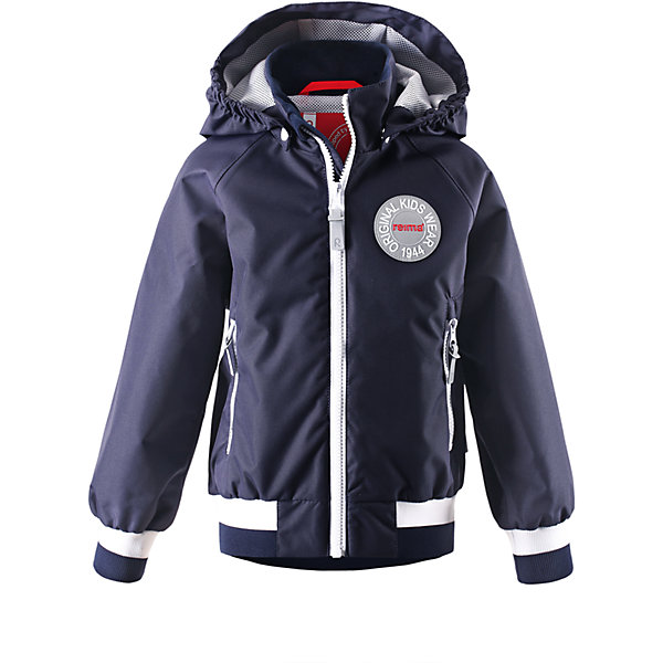 Куртка для мальчика ReimaВерхняя одежда<br>К весне готовы? Вот самая крутая куртка сезона! Мы создали эту детскую демисезонную куртку в духе одежды Reima® 70-х и завершили образ современными спортивными штрихами. Стильные, но при этом практичные детали делают эту модель очень оригинальной: манжеты и подол на резинке обеспечивают удобную посадку по фигуре, а большая эмблема Reima® спереди придает куртке классный вид. Материал куртки водо-и грязеотталкивающий, а все основные швы проклеены, водонепроницаемы, поэтому малыши могут на полную наслаждаться весенними приключениями! Красивая и гладкая подкладка из mesh-сетки увеличивает воздухопроводимость и хорошо смотрится. Безопасный съемный капюшон легко отстегивается, если случайно за что-нибудь зацепится, а два удобных кармана на молнии надежно сохранят все найденные за день маленькие сокровища. Вот что значит «весело и практично»!<br><br>Дополнительная информация:<br><br>Куртка демисезонная для детей<br>Основные швы проклеены и не пропускают влагу<br>Водоотталкивающий, ветронепроницаемый, «дышащий» и грязеотталкивающий материал<br>Подкладка из mesh-сетки<br>Безопасный, съемный капюшон<br>Приятная на ощупь резинка на манжетах и подоле<br>Два кармана на молнии<br>Состав:<br>100% ПЭ, ПУ-покрытие<br>Уход:<br>Стирать по отдельности, вывернув наизнанку. Застегнуть молнии и липучки. Стирать моющим средством, не содержащим отбеливающие вещества. Полоскать без специального средства. Во избежание изменения цвета изделие необходимо вынуть из стиральной машинки незамедлительно после окончания программы стирки. Сушить при низкой температуре.<br>Ширина мм: 356; Глубина мм: 10; Высота мм: 245; Вес г: 519; Цвет: синий; Возраст от месяцев: 36; Возраст до месяцев: 48; Пол: Мужской; Возраст: Детский; Размер: 104,110,122,116,98,92; SKU: 4497310;