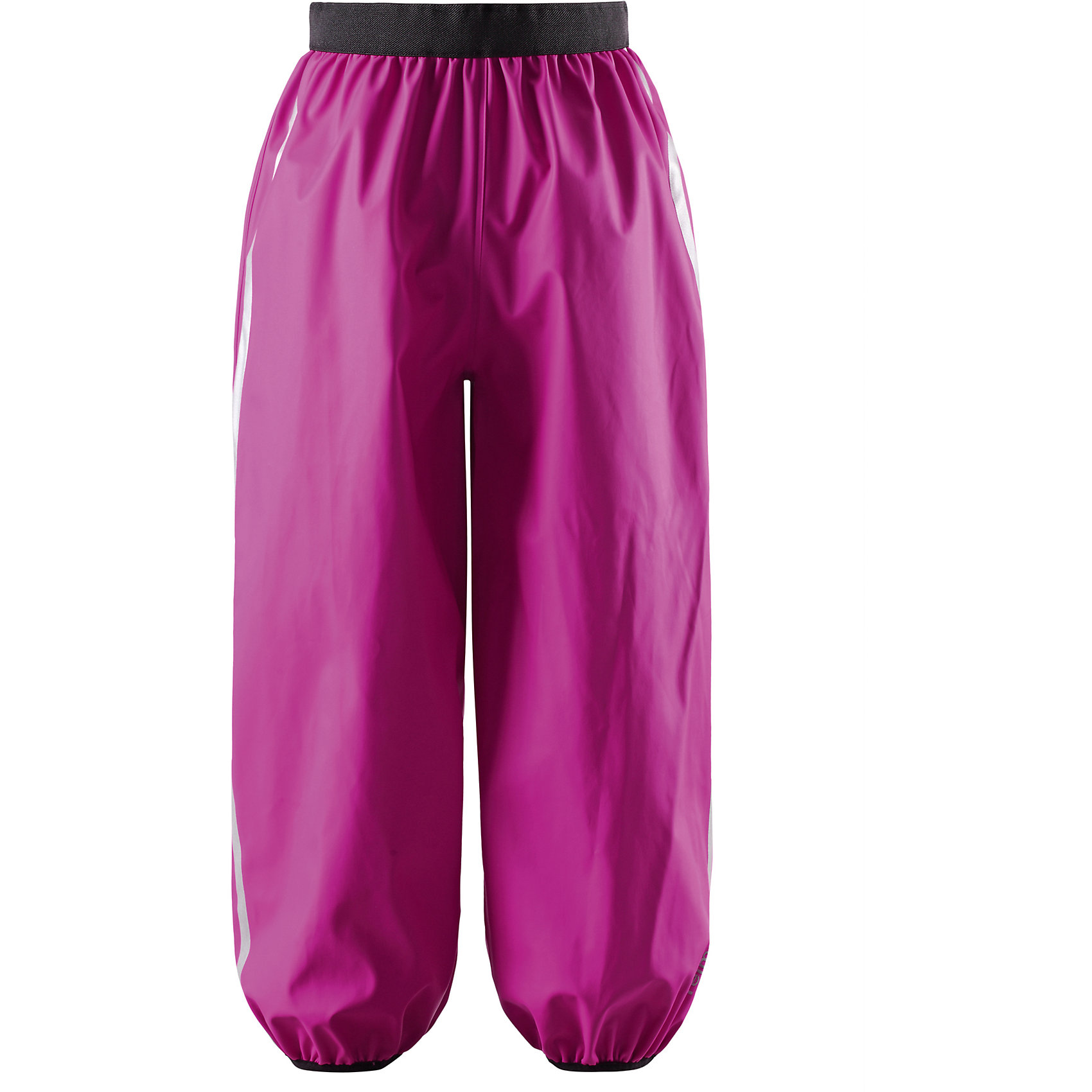 Брюки для девочки ReimaУ этих классических брюк для детей для дождливой погоды достаточно пространства для добавления теплых слоев Reima под низ. Водонепроницаемые запаянные швы гарантируют, что вода не проникнет внутрь. Эти износостойкие брюки для дождливой погоды разработаны для максимальной защиты и удобства во время дождя. Эластичный пояс обеспечивает хорошую посадку по фигуре, а съемные штрипки для размеров 104-128 см фиксируют низ брючин при движении. Светоотражающие детали обеспечивают безопасность после захода солнца. Материал не содержит ПВХ.<br><br>Дополнительная информация:<br><br>Детские брюки для дождливой погоды<br>Запаянные швы, не пропускающие влагу<br>Эластичный материал<br>Эластичная талия<br>Съемные штрипки в размерах от 104 до 128 см<br>Состав:<br>100% ПЭ, ПУ-покрытие<br>Уход:<br>Стирать по отдельности, вывернув наизнанку. Стирать моющим средством, не содержащим отбеливающие вещества. Полоскать без специального средства. Во избежание изменения цвета изделие необходимо вынуть из стиральной машинки незамедлительно после окончания программы стирки. Сушить при низкой температуре.<br><br>Ширина мм: 215<br>Глубина мм: 88<br>Высота мм: 191<br>Вес г: 336<br>Цвет: розовый<br>Возраст от месяцев: 108<br>Возраст до месяцев: 120<br>Пол: Женский<br>Возраст: Детский<br>Размер: 140,122,128,134,104,110,116<br>SKU: 4497511