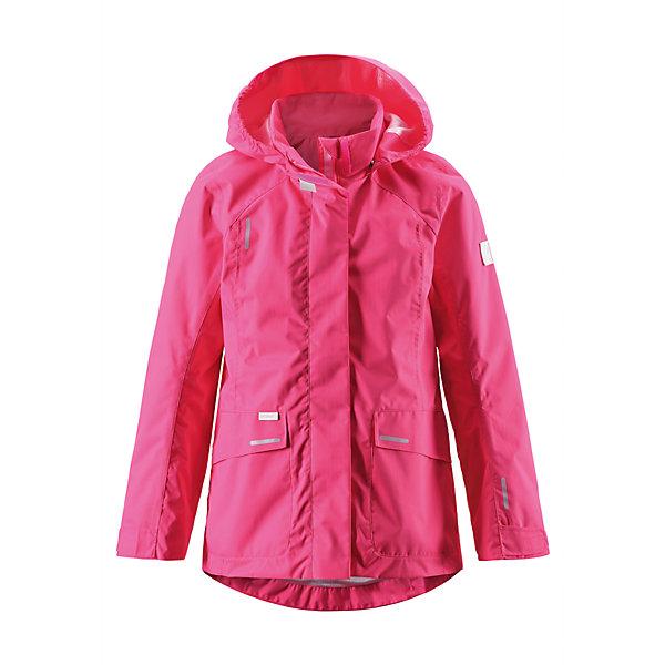 Куртка для девочки ReimaВерхняя одежда<br>Классическая детская демисезонная куртка-дождевик — отличный вариант на каждый день, и для школы, и для веселых прогулок по городу. Куртка изготовлена из ветронепроницаемого, дышащего материала с верхним водо- и грязеотталкивающим слоем. Все основные швы проклеены, водонепроницаемы, так что в этой куртке не страшен никакой дождь! В теплый день в куртке не будет жарко благодаря гладкой подкладке из mesh-сетки и вентиляции на спине, которые обеспечивают хорошую воздухопроводимость. Съемный безопасный капюшон легко регулируется благодаря удобной застежке на липучке, а вместительные передние накладные карманы сохранят все важные мелочи. Однотонный дизайн всегда актуален, и его можно легко комбинировать с различными аксессуарами. Эта модель предназначена для девочек и имеет регулируемую талию. <br><br>Дополнительная информация:<br><br>Куртка демисезонная для подростков<br>Основные швы проклеены и не пропускают влагу<br>Водоотталкивающий, ветронепроницаемый, «дышащий» и грязеотталкивающий материал<br>Подкладка из mesh-сетки, воздухопроводимый материал<br>Безопасный, отстегивающийся и регулируемый капюшон<br>Регулируемые манжеты<br>Регулируемый обхват талии<br>Два прорезных кармана<br>Состав:<br>100% ПЭ, ПУ-покрытие<br>Уход:<br>Стирать по отдельности, вывернув наизнанку. Застегнуть молнии и липучки. Стирать моющим средством, не содержащим отбеливающие вещества. Полоскать без специального средства. Во избежание изменения цвета изделие необходимо вынуть из стиральной машинки незамедлительно после окончания программы стирки. Сушить при низкой температуре.<br><br>Ширина мм: 356<br>Глубина мм: 10<br>Высота мм: 245<br>Вес г: 519<br>Цвет: розовый<br>Возраст от месяцев: 132<br>Возраст до месяцев: 144<br>Пол: Женский<br>Возраст: Детский<br>Размер: 152,146,158,122,128,134,140<br>SKU: 4497595