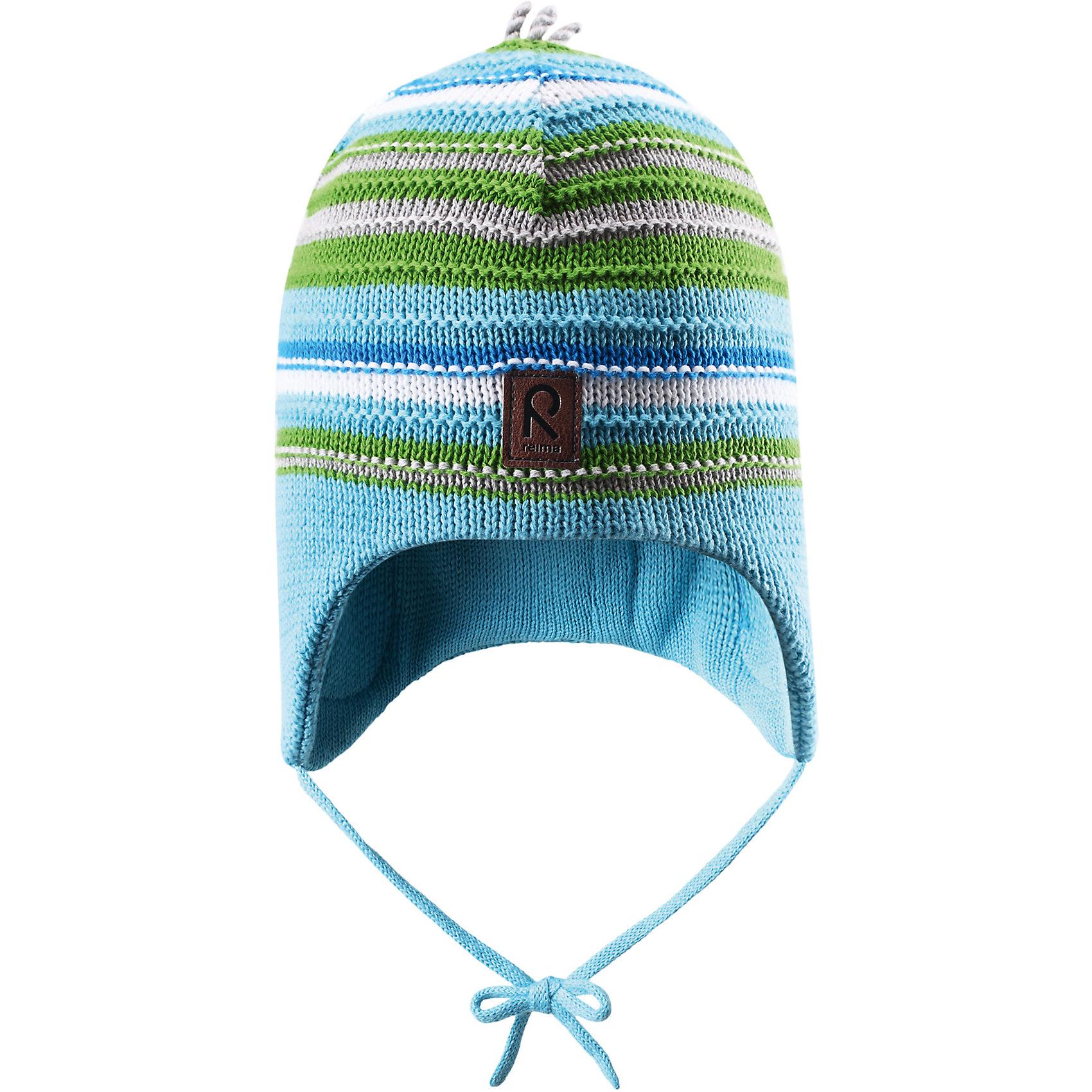 Шапка для мальчика ReimaВесне мы дарим свежесть красок! Эта веселая полосатая шапочка для малышей — идеальный выбор для теплых весенних деньков. Она изготовлена из мягкого вязаного хлопка и имеет ветронепроницаемые вставки, которые обеспечат ушкам надежную защиту. <br><br>Дополнительная информация:<br><br>Шапка «Бини» для малышей<br>Эластичная хлопчатобумажная ткань<br>Ветронепроницаемые вставки в области ушей<br>Частичная подкладка: хлопчатобумажная ткань<br>Логотип Reima® спереди<br>Состав:<br>100% хлопок<br>Уход:<br>Стирать по отдельности, вывернув наизнанку. Придать первоначальную форму вo влажном виде. Возможна усадка 5 %.<br><br>Ширина мм: 89<br>Глубина мм: 117<br>Высота мм: 44<br>Вес г: 155<br>Цвет: бирюзовый<br>Возраст от месяцев: 9<br>Возраст до месяцев: 12<br>Пол: Мужской<br>Возраст: Детский<br>Размер: 46,50,48,52<br>SKU: 4498065