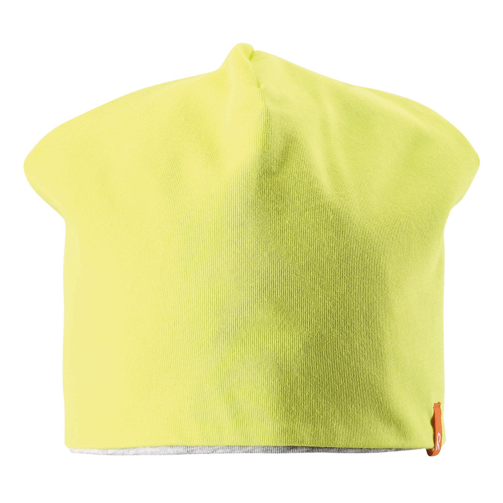Шапка ReimaЭта яркая шапочка свежей расцветки для малышей и детей постарше идеально подойдет для веселых весенних приключений! Она изготовлена из простого в уходе и быстросохнущего материла Play Jersey®, эффективно выводящего влагу с кожи во время подвижных игр на свежем воздухе. Обратите внимание, что она имеет УФ-защиту 40+. Стиля много не бывает! Озорная двухсторонняя шапочка в одно мгновение превращается из полосатой в однотонную! <br><br>Дополнительная информация:<br><br>Двухсторонняя шапка «Бини» для детей и малышей<br>Быстросохнущий материал Play Jersey, приятный на ощупь<br>Фактор защиты от ультрафиолета 40+<br>Двухсторонняя модель<br>Сплошная подкладка: отводящий влагу материал Play Jersey<br>Логотип Reima® спереди<br>Состав:<br>65% ХЛ 30% ПЭ 5% ЭЛ<br>Уход:<br>Стирать с бельем одинакового цвета, вывернув наизнанку. Полоскать без специального средства. Придать первоначальную форму вo влажном виде.<br><br>Ширина мм: 89<br>Глубина мм: 117<br>Высота мм: 44<br>Вес г: 155<br>Цвет: желтый<br>Возраст от месяцев: 84<br>Возраст до месяцев: 144<br>Пол: Унисекс<br>Возраст: Детский<br>Размер: 56,54,46,50,52,48<br>SKU: 4498216