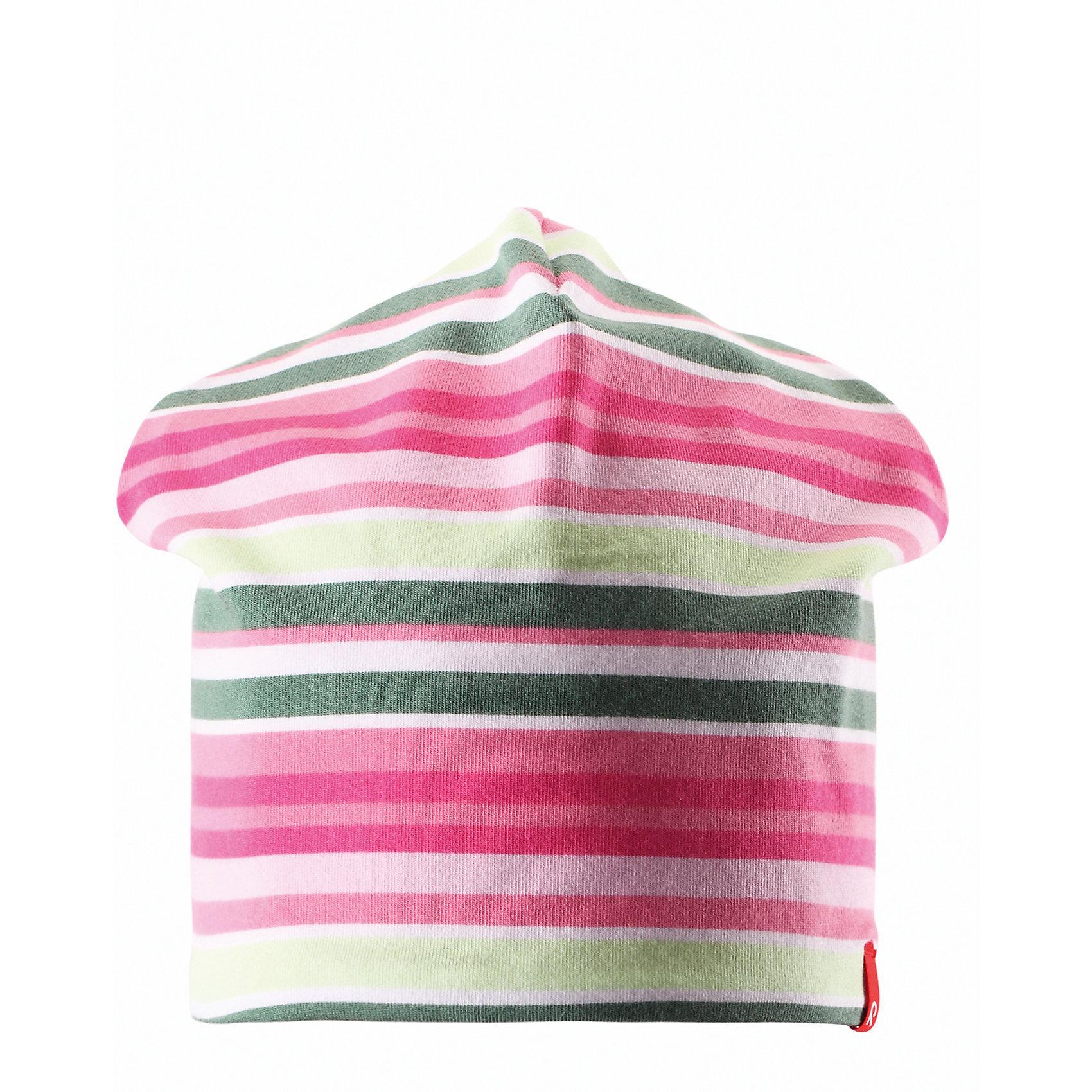Шапка для девочки ReimaШапки и шарфы<br>Эта яркая шапочка свежей расцветки для малышей и детей постарше идеально подойдет для веселых весенних приключений! Она изготовлена из простого в уходе и быстросохнущего материла Play Jersey®, эффективно выводящего влагу с кожи во время подвижных игр на свежем воздухе. Обратите внимание, что она имеет УФ-защиту 40+. Стиля много не бывает! Озорная двухсторонняя шапочка в одно мгновение превращается из полосатой в однотонную! <br><br>Дополнительная информация:<br><br>Двухсторонняя шапка «Бини» для детей и малышей<br>Быстросохнущий материал Play Jersey, приятный на ощупь<br>Фактор защиты от ультрафиолета 40+<br>Двухсторонняя модель<br>Сплошная подкладка: отводящий влагу материал Play Jersey<br>Логотип Reima® спереди<br>Узор из цветных полос<br>Состав:<br>65% ХЛ 30% ПЭ 5% ЭЛ<br>Уход:<br>Стирать с бельем одинакового цвета, вывернув наизнанку. Полоскать без специального средства. Придать первоначальную форму вo влажном виде.<br><br>Ширина мм: 89<br>Глубина мм: 117<br>Высота мм: 44<br>Вес г: 155<br>Цвет: розовый<br>Возраст от месяцев: 9<br>Возраст до месяцев: 12<br>Пол: Женский<br>Возраст: Детский<br>Размер: 46,50,56,54,52,48<br>SKU: 4498265
