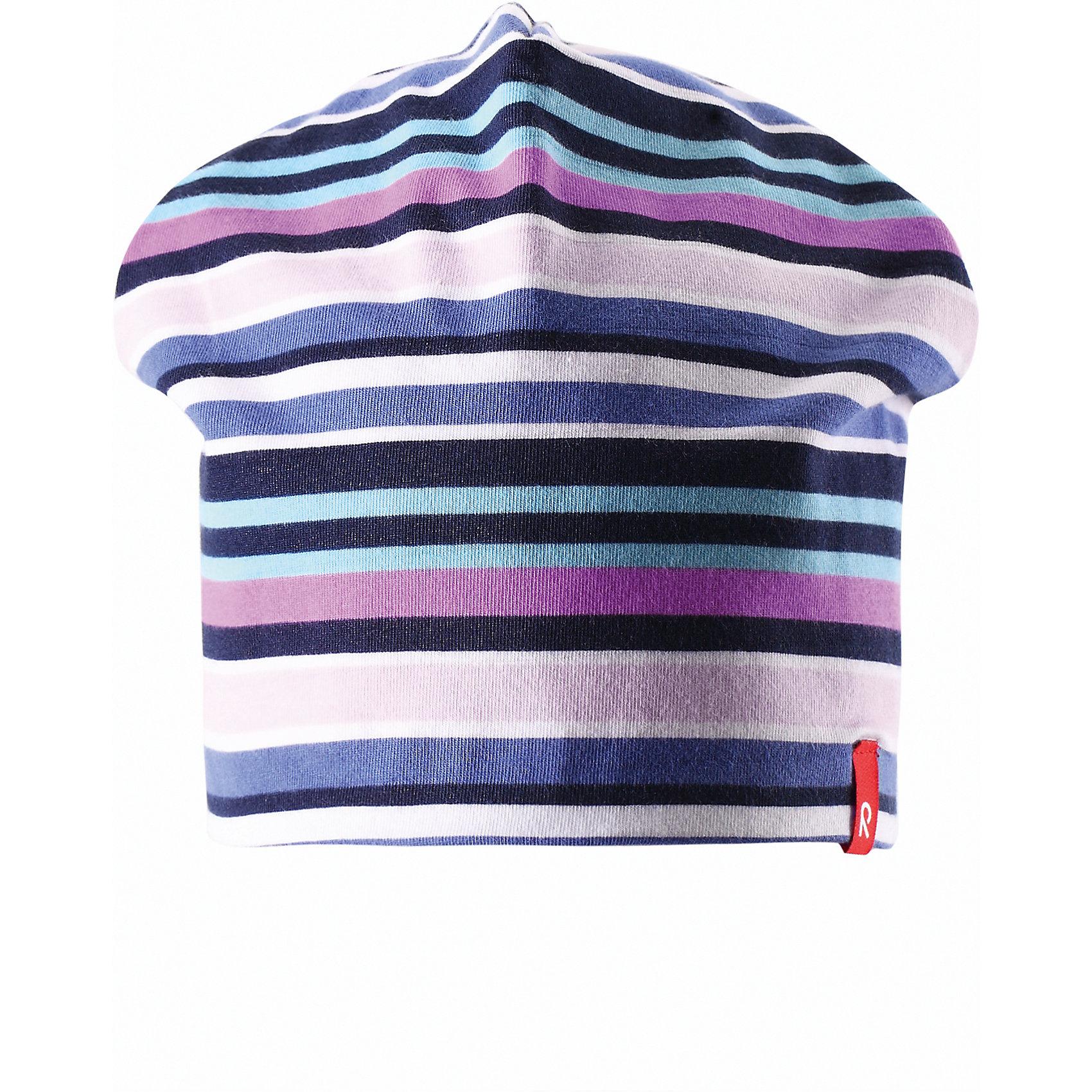 Шапка для девочки ReimaШапки и шарфы<br>Эта яркая шапочка свежей расцветки для малышей и детей постарше идеально подойдет для веселых весенних приключений! Она изготовлена из простого в уходе и быстросохнущего материла Play Jersey®, эффективно выводящего влагу с кожи во время подвижных игр на свежем воздухе. Обратите внимание, что она имеет УФ-защиту 40+. Стиля много не бывает! Озорная двухсторонняя шапочка в одно мгновение превращается из полосатой в однотонную! <br><br>Дополнительная информация:<br><br>Двухсторонняя шапка «Бини» для детей и малышей<br>Быстросохнущий материал Play Jersey, приятный на ощупь<br>Фактор защиты от ультрафиолета 40+<br>Двухсторонняя модель<br>Сплошная подкладка: отводящий влагу материал Play Jersey<br>Логотип Reima® спереди<br>Узор из цветных полос<br>Состав:<br>65% ХЛ 30% ПЭ 5% ЭЛ<br>Уход:<br>Стирать с бельем одинакового цвета, вывернув наизнанку. Полоскать без специального средства. Придать первоначальную форму вo влажном виде.<br><br>Ширина мм: 89<br>Глубина мм: 117<br>Высота мм: 44<br>Вес г: 155<br>Цвет: розовый<br>Возраст от месяцев: 9<br>Возраст до месяцев: 12<br>Пол: Женский<br>Возраст: Детский<br>Размер: 46,54,56,52,50,48<br>SKU: 4498272
