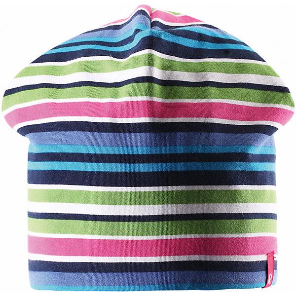Шапка для девочки ReimaШапки и шарфы<br>Эта яркая шапочка свежей расцветки для малышей и детей постарше идеально подойдет для веселых весенних приключений! Она изготовлена из простого в уходе и быстросохнущего материла Play Jersey®, эффективно выводящего влагу с кожи во время подвижных игр на свежем воздухе. Обратите внимание, что она имеет УФ-защиту 40+. Стиля много не бывает! Озорная двухсторонняя шапочка в одно мгновение превращается из полосатой в однотонную! <br><br>Дополнительная информация:<br><br>Двухсторонняя шапка «Бини» для детей и малышей<br>Быстросохнущий материал Play Jersey, приятный на ощупь<br>Фактор защиты от ультрафиолета 40+<br>Двухсторонняя модель<br>Сплошная подкладка: отводящий влагу материал Play Jersey<br>Логотип Reima® спереди<br>Узор из цветных полос<br>Состав:<br>65% ХЛ 30% ПЭ 5% ЭЛ<br>Уход:<br>Стирать с бельем одинакового цвета, вывернув наизнанку. Полоскать без специального средства. Придать первоначальную форму вo влажном виде.<br><br>Ширина мм: 89<br>Глубина мм: 117<br>Высота мм: 44<br>Вес г: 155<br>Цвет: синий<br>Возраст от месяцев: 9<br>Возраст до месяцев: 12<br>Пол: Женский<br>Возраст: Детский<br>Размер: 46,56,50,48,52,54<br>SKU: 4498279