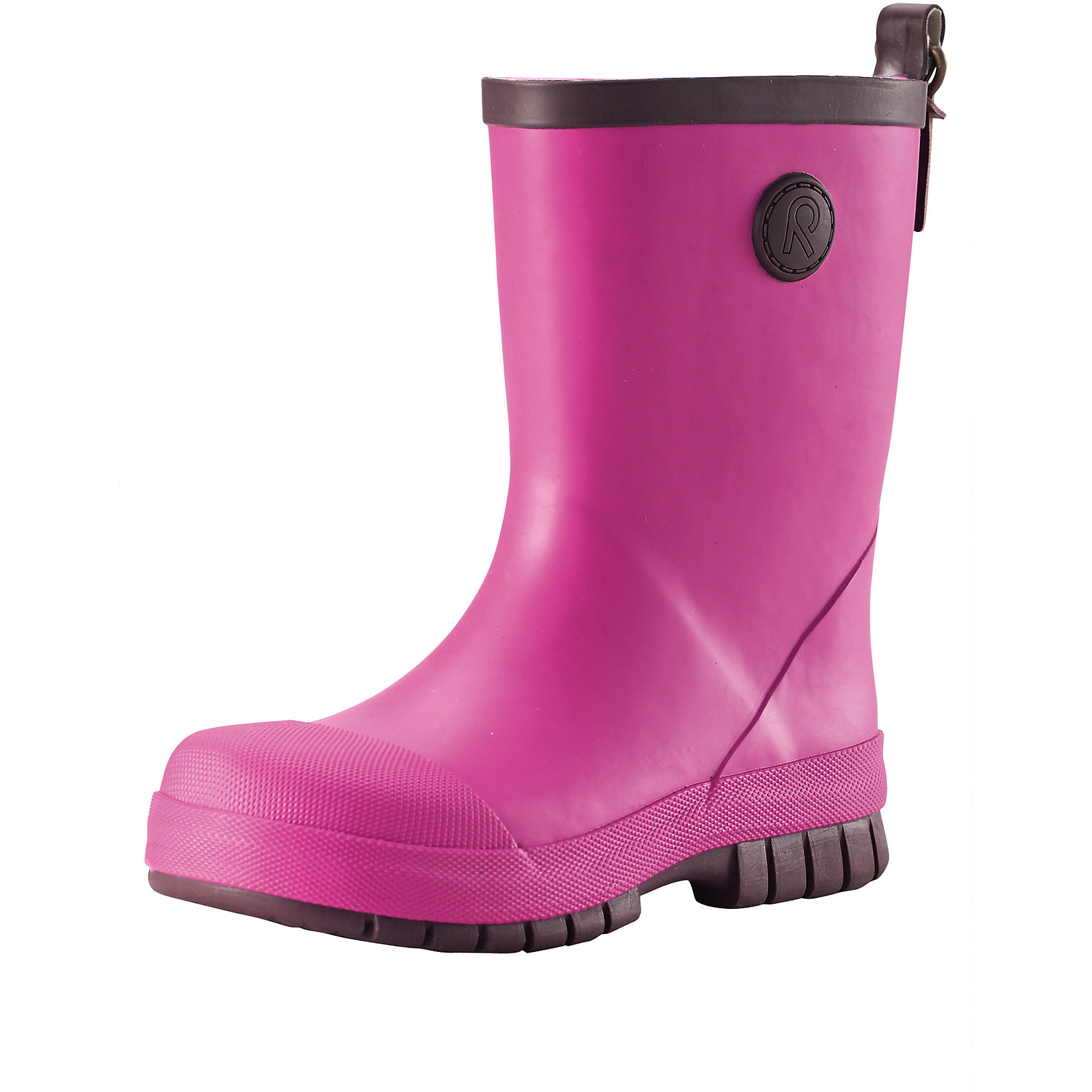 Резиновые сапоги для девочки ReimaВеликолепные однотонные резиновые ботинки для малышей легко комбинируются с различной одеждой. Ботинки оснащены удобной хлопчатобумажной подкладкой, а съемные стельки с принтом Happy Fit помогут подобрать правильный размер. Резиновые ботинки Reima® специально разработаны для маленьких детей – высота голенища тщательно подобрана для удобства детской ножки, поэтому ботинки легко одеваются, но обеспечивают необходимую защиту. Штрипки брюк или комбинезона будут оставаться неподвижными и расположатся как раз перед каблуком благодаря канавке на подошве. Резиновая подошва гарантирует хорошее сцепление на любой поверхности. Обратите внимание на рефлектор на задней части для дополнительной безопасности.<br><br>Дополнительная информация:<br><br>Резиновые сапоги для детей<br>Основной материал на 40 % состоит из натурального каучука, не содержит поливинилхлорида<br>Хлопчатобумажная подкладка<br>Съемные стельки с рисунком Happy Fit, которые помогают определить размер<br>Отражатель на заднике<br>Состав:<br>Подошва: резина, Верх: резина<br>Уход:<br>После использования резиновые сапоги следует почистить. Храните сапоги в темном прохладном месте: выпрямив их голенища.<br><br>Ширина мм: 237<br>Глубина мм: 180<br>Высота мм: 152<br>Вес г: 438<br>Цвет: розовый<br>Возраст от месяцев: 96<br>Возраст до месяцев: 108<br>Пол: Женский<br>Возраст: Детский<br>Размер: 32,36,37,33,38,30,31,29,28,25,26,27,34,35<br>SKU: 4498401