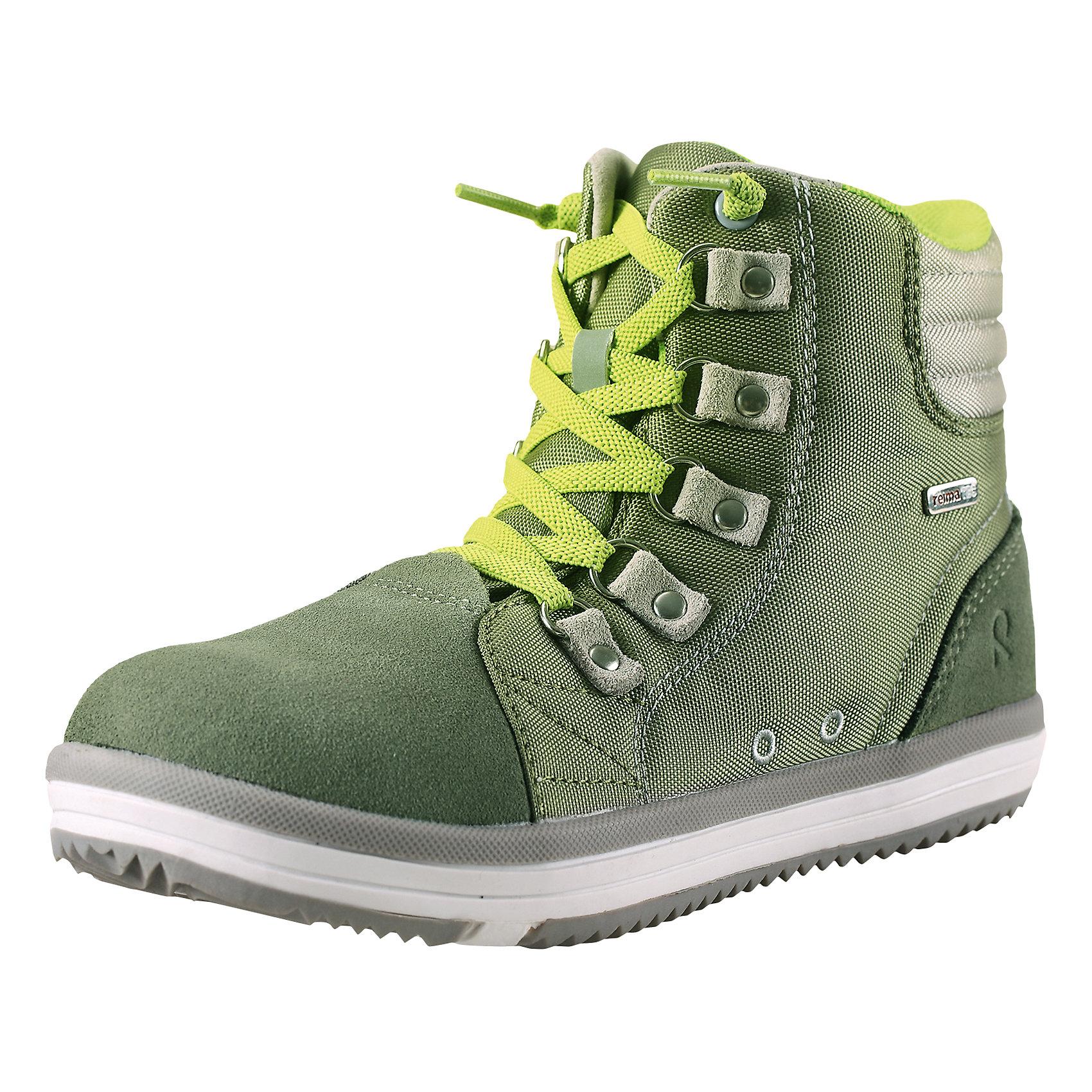 Ботинки Wetter Reimatec ReimaКлассика - водонепроницаемые кроссовки Reimatec®! Верхняя часть изготовлена из гибкого полиамида, носовая и задняя части усилены замшем из коровьей кожи. Яркие сочные расцветки прекрасно комбинируются с различной верхней одеждой и аксессуарами Reima®. К обуви идут в наборе две пары шнурков – в добавок к обычным обувным шнуркам вы можете попробовать новые, эластичные шнурки, быстрые и удобные в использовании! Обувь снабжена уникальными съемными стельками Reima с принтом Happy Fit, которые помогают правильно определить размер.<br><br>Дополнительная информация:<br><br>Кроссовки для детей<br>Водонепроницаемая демисезонная обувь<br>Верх из натуральной замши (из телячьей кожи) и текстиля<br>Подошва Reima® из термопластичного каучука с рисунком Happy Fit<br>Водонепроницаемые, герметичные вставки с подкладкой из mesh-сетки<br>Съемные стельки с рисунком Happy Fit, которые помогают определить размер<br>Светоотражающие детали<br>Состав:<br>Подошва: термопластичная резина, Верх: 80% ПЭ 20% Кожа<br>Уход:<br>Храните обувь в вертикальном положении при комнатной температуре. Сушить обувь всегда следует при комнатной температуре: вынув съемные стельки. Стельки следует время от времени заменять на новые. Налипшую грязь можно счищать щеткой или влажной тряпкой. Перед использованием обувь рекомендуется обрабатывать специальными защитными средствами.<br><br>Ширина мм: 262<br>Глубина мм: 176<br>Высота мм: 97<br>Вес г: 427<br>Цвет: зеленый<br>Возраст от месяцев: 120<br>Возраст до месяцев: 132<br>Пол: Унисекс<br>Возраст: Детский<br>Размер: 34,37,32,29,24,27,35,38,36,33,31,30,28,26,25<br>SKU: 4498463