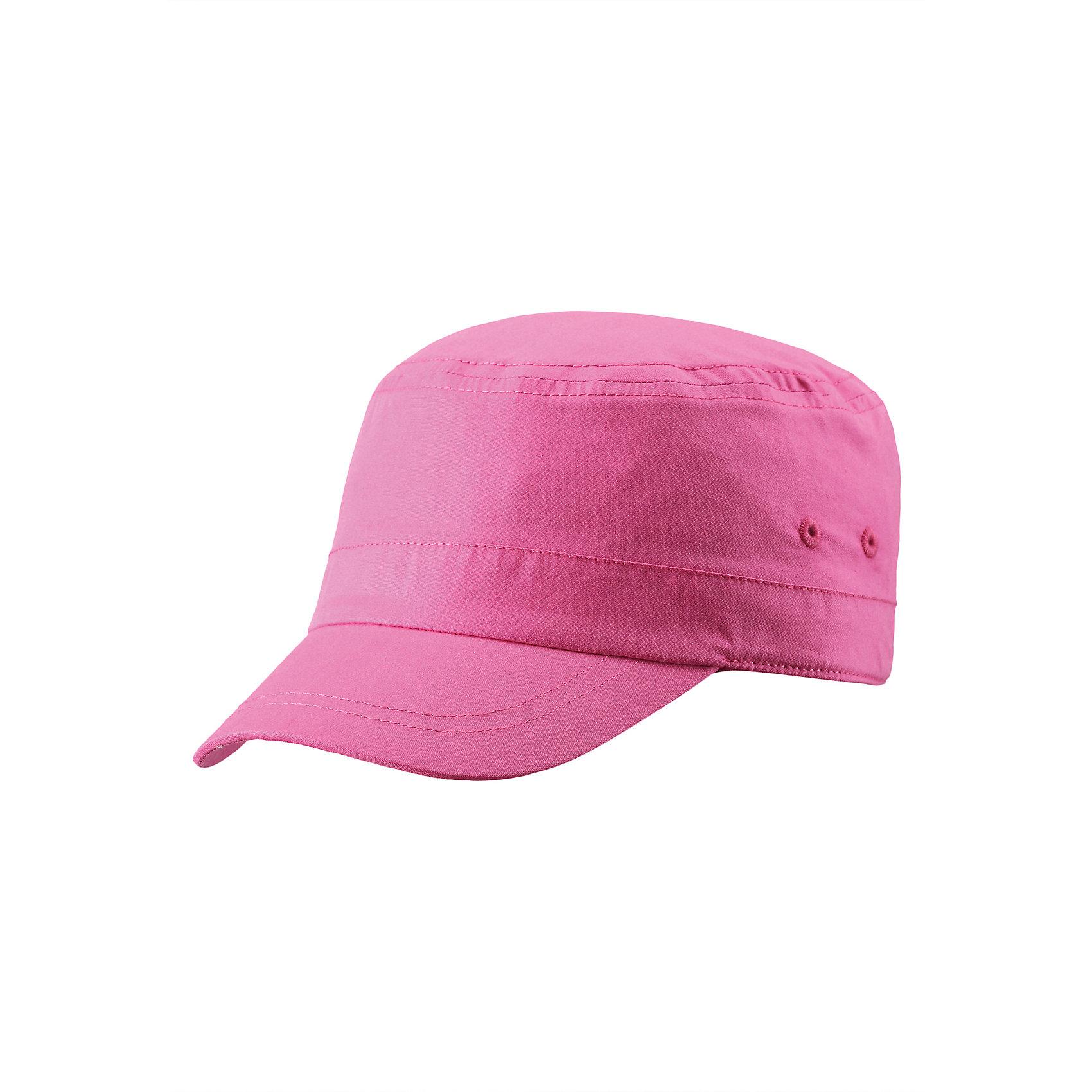 Кепка для девочки ReimaШапки и шарфы<br>Эта стильная летняя кепка для детей - прекрасный спутник в летние солнечные дни. Кепка защищает от солнечных лучей, но при этом обеспечивает ощущение легкости и комфорта при носке. Стрейчевая задняя часть обеспечивает хорошую посадку, и поможет удержать кепку на голове во время активных игр на пляже. Без подкладки.<br><br>Дополнительная информация:<br><br>Шапка для детей<br>Без подкладки<br>Эластичный кант сзади<br>Состав:<br>100% хлопок<br>Уход:<br>Стирать с бельем одинакового цвета, вывернув наизнанку. Стирать моющим средством, не содержащим отбеливающие вещества. Придать первоначальную форму вo влажном виде. Полоскать без специального средства. Сушить при низкой температуре.<br><br>Ширина мм: 89<br>Глубина мм: 117<br>Высота мм: 44<br>Вес г: 155<br>Цвет: розовый<br>Возраст от месяцев: 72<br>Возраст до месяцев: 84<br>Пол: Женский<br>Возраст: Детский<br>Размер: 54,52,56,48,50<br>SKU: 4498817