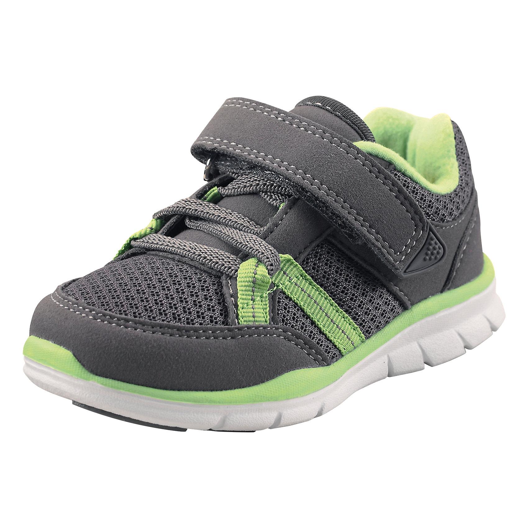 Кроссовки ReimaЭти ботиночки, которые легко обувать и легко чистить, просто незаменимы в веселую весеннюю и летнюю пору! Модные и легкие ботинки Reima® для малышей превосходно подойдут активным маленьким любителям летних приключений. Верх изготовлен из дышащего материала из mesh-сетки, а бесшовная лайкровая подкладка защитит ножки от натирания. Благодаря эластичным шнуркам и удобному ремешку на липучке малыши смогут надеть эти ботинки сами. Благодаря широкому вырезу их очень легко надевать. Хорошая новость для мам и пап: эти сандалии пригодны для машинной стирки — одной заботой меньше! Однако помните, что для них нужно выбрать программу деликатной стирки. <br><br>Дополнительная информация:<br><br>Обувь для малышей<br>Верх из быстросохнущего текстиля и синтетических материалов<br>Эластичная и легкая подошва из ЭВА<br>Подошва, не оставляющая черных полос<br>Подкладка из лайкры для удобства использования<br>Съемные формованные стельки из ЭВА с подкладкой из лайкры и рисунком Happy Fit, который помогает определить размер<br>Простая застежка на липучке с эластичными шнурками для регулировки размера<br>Легко надеваются на ноги<br>Можно стирать в машине при температуре 30 °C<br>«Дышащая» и легкая обувь<br>Светоотражающие детали<br>Состав:<br>Подошва: EVA, резина Верх: 60% ПЭ 40% ПУ<br>Уход:<br>Храните обувь в вертикальном положении при комнатной температуре. Сушить обувь всегда следует при комнатной температуре: вынув съемные стельки. Стельки следует время от времени заменять на новые. Налипшую грязь можно счищать щеткой или влажной тряпкой. Перед использованием обувь рекомендуется обрабатывать специальными защитными средствами.<br><br>Ширина мм: 250<br>Глубина мм: 150<br>Высота мм: 150<br>Вес г: 250<br>Цвет: серый<br>Возраст от месяцев: 9<br>Возраст до месяцев: 12<br>Пол: Унисекс<br>Возраст: Детский<br>Размер: 20,27,21,23,25,22,24,26<br>SKU: 4498853