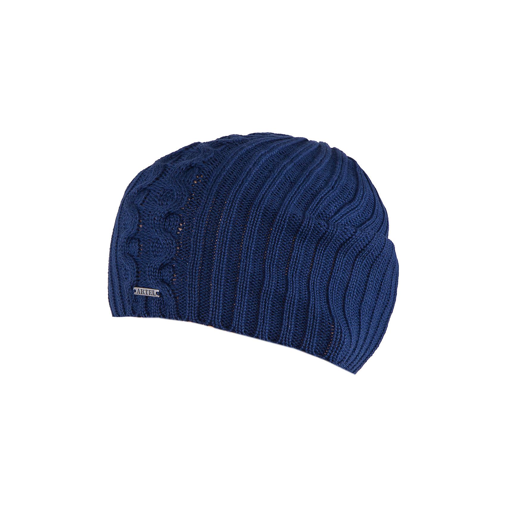 Шапка для мальчика АртельШапка для мальчика от торговой марки Артель <br><br>Стильная теплая шапка отлично смотрится на детях, обеспечивает комфорт и тепло. Изделие выполнено из качественных материалов, вязка плотная. Смешанный состав пряжи обеспечит износостойкость и удобство. Отличный вариант для переменной погоды межсезонья! <br>Одежда от бренда Артель – это высокое качество по приемлемой цене и всегда продуманный дизайн. <br><br>Особенности модели: <br>- цвет — синий; <br>- украшена металлическим логотипом;<br>- пряжа смешанного состава. <br><br>Дополнительная информация: <br><br>Состав: 50% хлопок, 50% пан.<br><br><br>Температурный режим: <br>От -5 °C до +15 °C <br><br>Шапку для мальчика Артель (Artel) можно купить в нашем магазине.<br><br>Ширина мм: 89<br>Глубина мм: 117<br>Высота мм: 44<br>Вес г: 155<br>Цвет: синий<br>Возраст от месяцев: 60<br>Возраст до месяцев: 72<br>Пол: Мужской<br>Возраст: Детский<br>Размер: 52,54,50<br>SKU: 4500775
