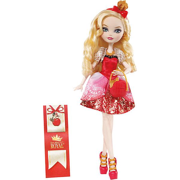 Кукла  Эппл Уайт Главные герои, Ever After HighКуклы<br>Эппл Вайт - дочь Белоснежки, прекрасная как и ее сказочная мама! Эппл обожает яблоки, и хочет , чтобы люди знали ее как самую прекрасную на свете не только внешне, но и в душе. Куколка одета в красивое красное платье с пышной юбкой и приталенным лифом, на ногах - стильные босоножки.  Эппл имеет длинные светлые волосы, из которых получится множество замечательных причесок. Образ дополняют красный ободок с короной и маленькая сумочка. Собери всех героев Ever After High (Школа Долго и счастливо) проигрывай любимые сцены из мультсериала или придумывай свои новые истории! <br><br>Дополнительная информация:<br><br>- Материал: пластик.<br>- Высота: 25 см.<br>- Голова, руки, ноги куклы подвижные. <br>- Комплектация: кукла в одежде и обуви, расческа, дневник, сумочка.<br><br>Куклу  Главные герои, Ever After High (Эвер Афтер Хай), можно купить в нашем магазине.<br><br>Ширина мм: 65<br>Глубина мм: 205<br>Высота мм: 325<br>Вес г: 388<br>Возраст от месяцев: 72<br>Возраст до месяцев: 120<br>Пол: Женский<br>Возраст: Детский<br>SKU: 4500802