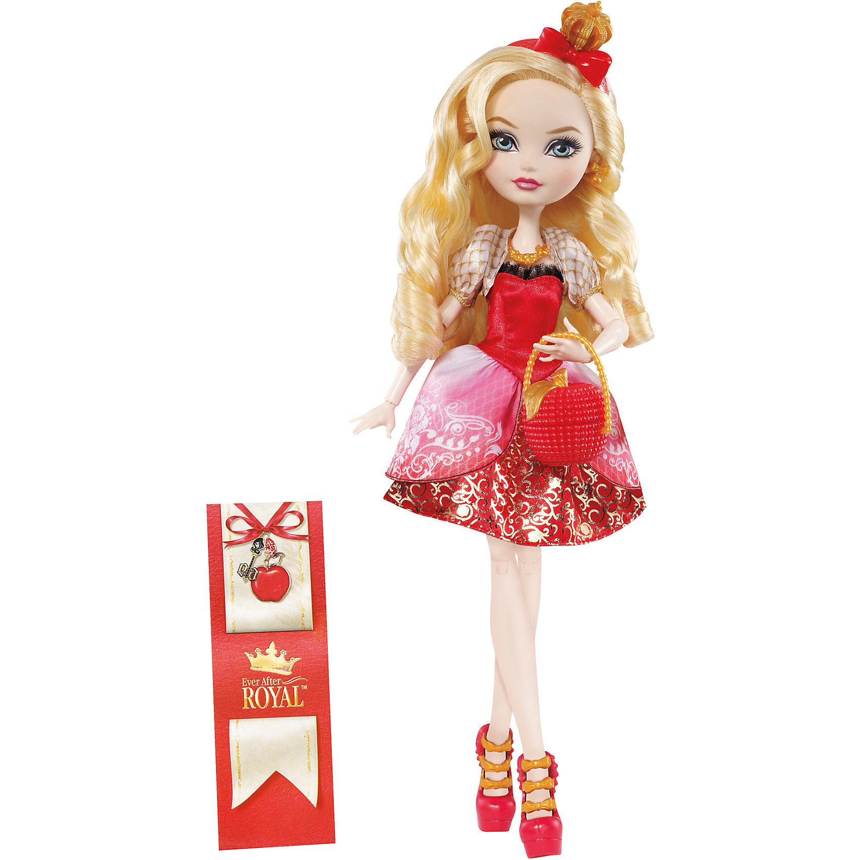 Кукла  Эппл Уайт Главные герои, Ever After HighEver After High<br>Эппл Вайт - дочь Белоснежки, прекрасная как и ее сказочная мама! Эппл обожает яблоки, и хочет , чтобы люди знали ее как самую прекрасную на свете не только внешне, но и в душе. Куколка одета в красивое красное платье с пышной юбкой и приталенным лифом, на ногах - стильные босоножки.  Эппл имеет длинные светлые волосы, из которых получится множество замечательных причесок. Образ дополняют красный ободок с короной и маленькая сумочка. Собери всех героев Ever After High (Школа Долго и счастливо) проигрывай любимые сцены из мультсериала или придумывай свои новые истории! <br><br>Дополнительная информация:<br><br>- Материал: пластик.<br>- Высота: 25 см.<br>- Голова, руки, ноги куклы подвижные. <br>- Комплектация: кукла в одежде и обуви, расческа, дневник, сумочка.<br><br>Куклу  Главные герои, Ever After High (Эвер Афтер Хай), можно купить в нашем магазине.<br><br>Ширина мм: 65<br>Глубина мм: 205<br>Высота мм: 325<br>Вес г: 388<br>Возраст от месяцев: 72<br>Возраст до месяцев: 120<br>Пол: Женский<br>Возраст: Детский<br>SKU: 4500802