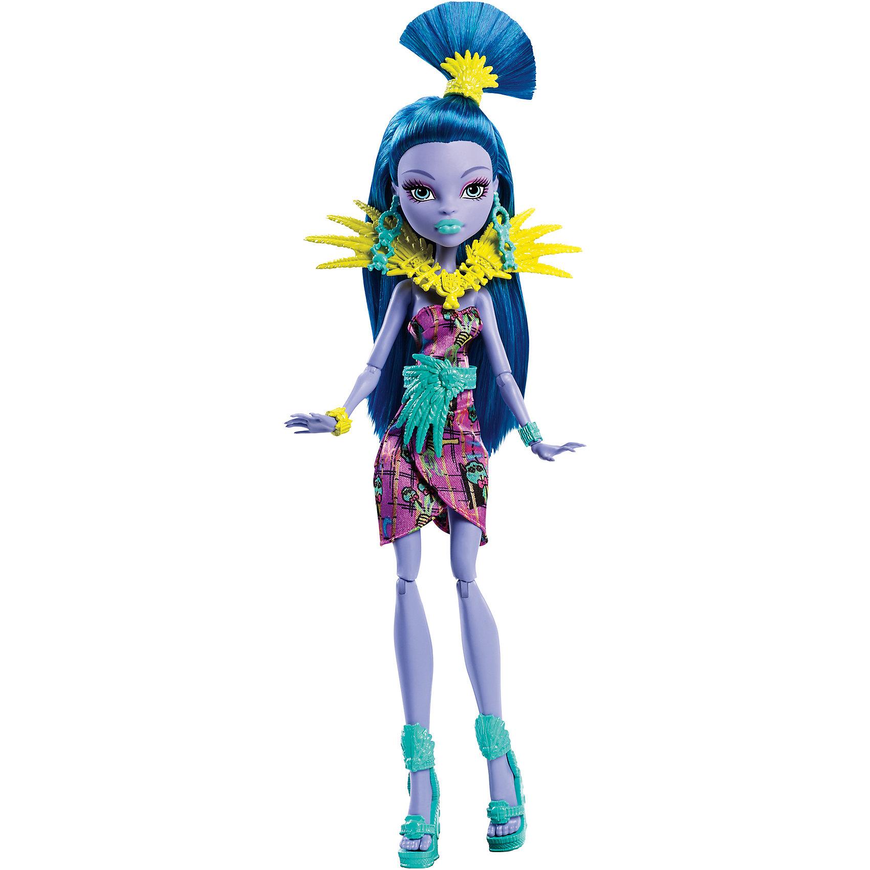 Кукла Монстрические каникулы, Monster HighПопулярные игрушки<br>Отправляйся на каникулы с Джейн Булитл из Школы монстров, которая принарядилась для хищного туризма и диких пляжей! Кукла одета в тропическом стиле. Подвижные плечи, локти и колени позволят ей разыгрывать напряженные сюжеты. Джейн Булитл, приемная дочь доктора Дулитла, ее наряд с узором из фирменных черепов, с воротничком-ожерельем со стилизованными листьями, в драгоценностях, выглядит убийственно-стильно. Образ дополняют миниатюрные туфельки и украшение для волос. Длинные локоны куклы покрашены в глубокий синий цвет, из них получится множество оригинальных причесок. <br><br>Дополнительная информация:<br><br>- Материал: пластик.<br>- Высота: 30 см.<br>- Голова, руки, ноги куклы подвижные. <br>- Комплектация: кукла в одежде и обуви, аксессуары.<br><br>Куклу Монстрические каникулы, Monster High (Монстр Хай), можно купить в нашем магазине.<br><br>Ширина мм: 65<br>Глубина мм: 150<br>Высота мм: 325<br>Вес г: 258<br>Возраст от месяцев: 72<br>Возраст до месяцев: 120<br>Пол: Женский<br>Возраст: Детский<br>SKU: 4500808