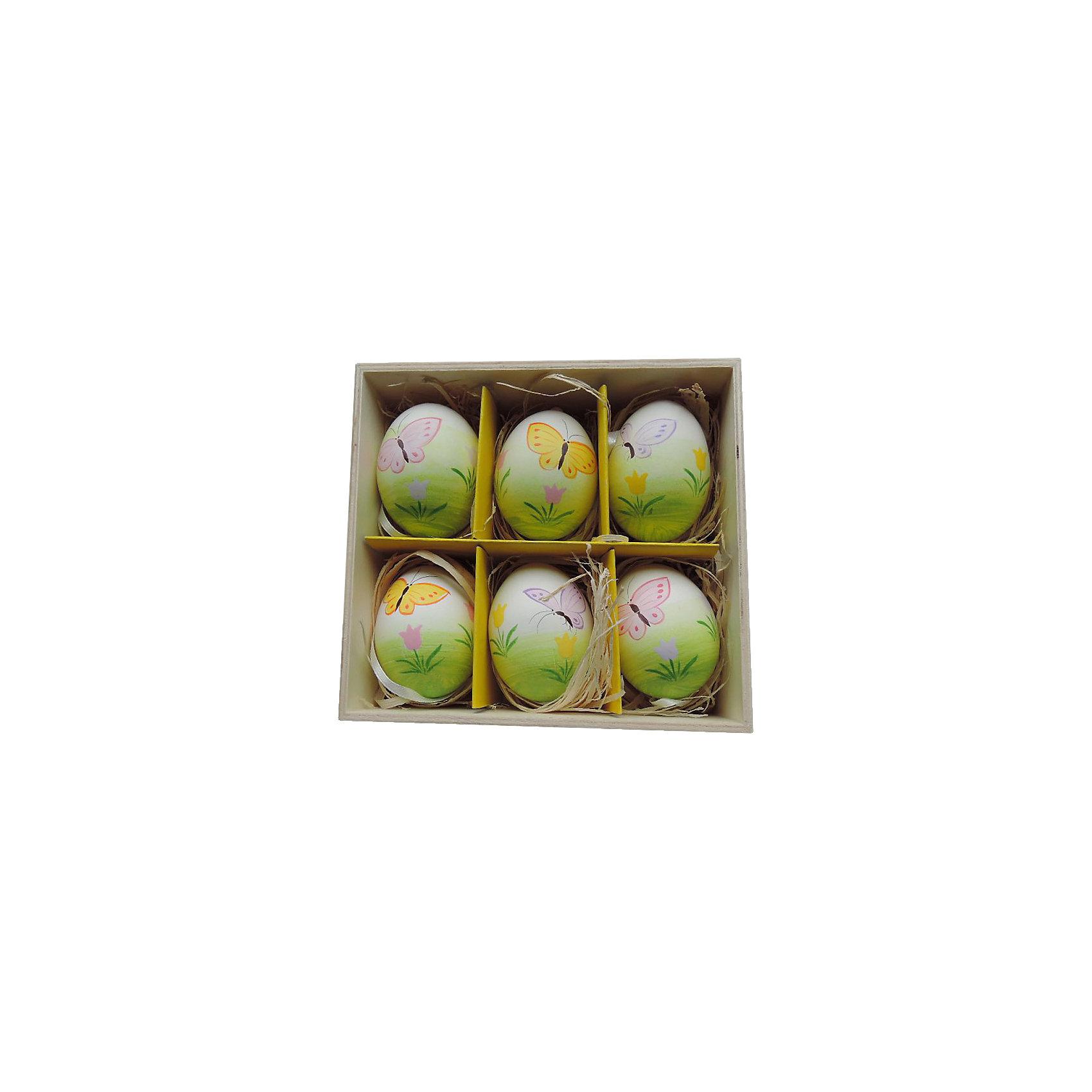 Декоративный набор пасхальных яиц Бабочки 6 штДекоративное подвесное пасхальное яйцо - идеальный вариант для украшения дома к празднику или же для пасхального сувенира. Подвески выполнены из натуральной скорлупы, украшены нежными рисунками, имеют специальные текстильные петельки для подвешивания. В комплекте - 6 пасхальных яиц, расположенных в оригинальном  деревянного ящичке с подложкой из лыко.<br><br>Дополнительная информация:<br><br>- Материал: скорлупа куриного яйца, текстиль, лыко.<br>- Размер яйца: 4 см х 4 см х 5,5 см.<br>- Размер упаковки: 16х15х6 см.<br>- 6 штук в наборе. <br>- Цвет: зеленый, белый, желтый. <br>,<br>Декоративный набор пасхальных яиц Бабочки 6 шт, можно купить в нашем магазине.<br><br>Ширина мм: 55<br>Глубина мм: 140<br>Высота мм: 150<br>Вес г: 143<br>Возраст от месяцев: 36<br>Возраст до месяцев: 2147483647<br>Пол: Унисекс<br>Возраст: Детский<br>SKU: 4501201