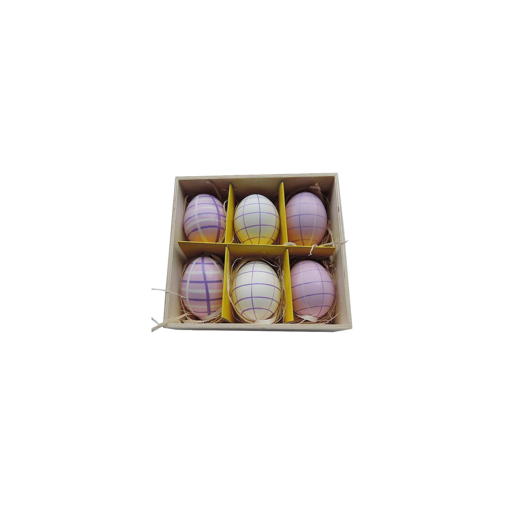 Декоративный набор пасхальных яиц Фиолетовый 6 штДекоративное подвесное пасхальное яйцо - идеальный вариант для украшения дома к празднику или же для пасхального сувенира. Подвески выполнены из натуральной скорлупы, украшены нежными рисунками, имеют специальные текстильные петельки для подвешивания. В комплекте - 6 пасхальных яиц, расположенных в оригинальном  деревянного ящичке с подложкой из лыко.<br><br>Дополнительная информация:<br><br>- Материал: скорлупа куриного яйца, текстиль, лыко.<br>- Размер яйца: 4 см х 4 см х 5,5 см.<br>- Размер упаковки: 16х15х6 см.<br>- 6 штук в наборе. <br>- Цвет: желтый, фиолетовый.<br><br>Декоративный набор пасхальных яиц Фиолетовый, 6 шт, можно купить в нашем магазине.<br><br>Ширина мм: 50<br>Глубина мм: 140<br>Высота мм: 150<br>Вес г: 143<br>Возраст от месяцев: 36<br>Возраст до месяцев: 2147483647<br>Пол: Унисекс<br>Возраст: Детский<br>SKU: 4501207