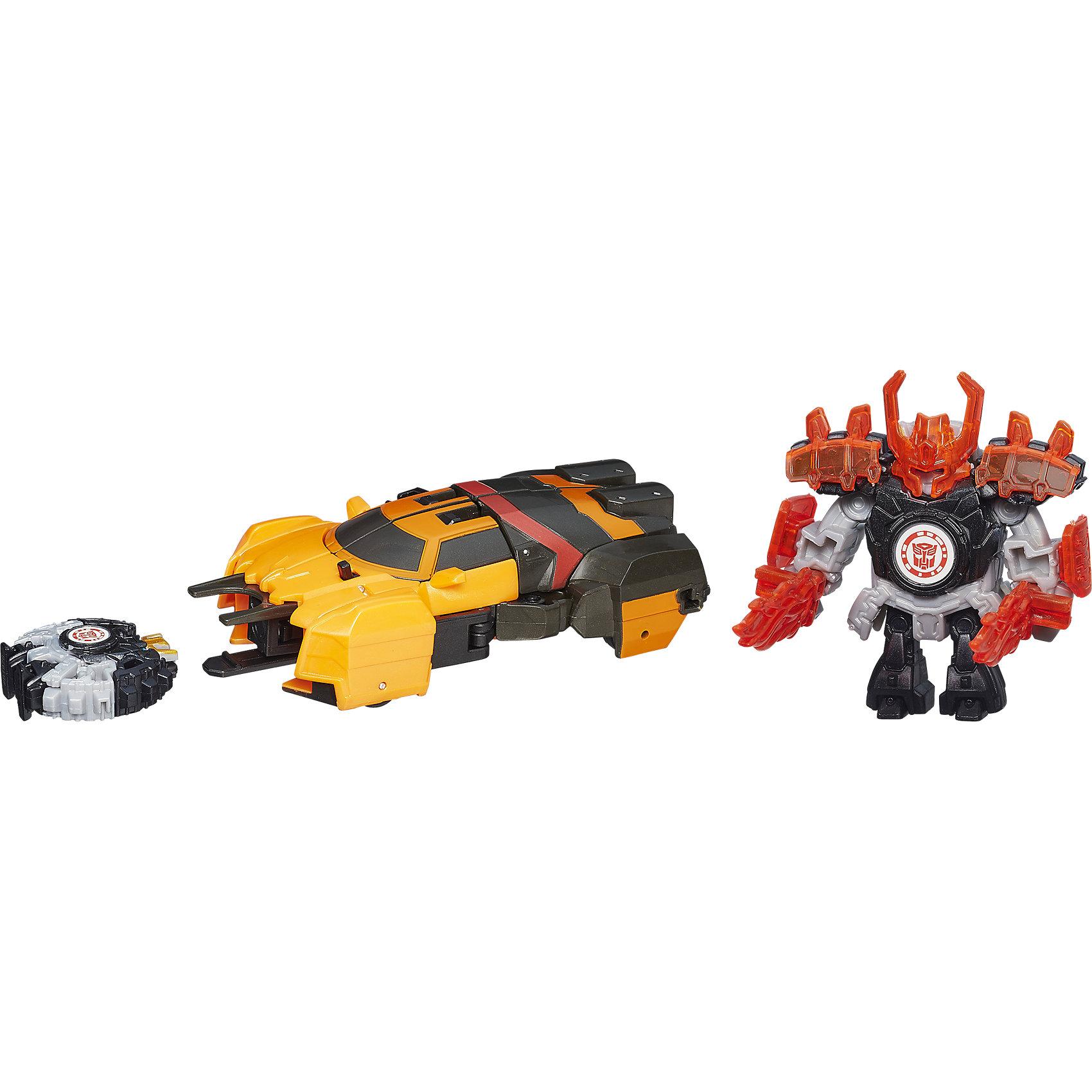 Миниконы Деплойерс, Роботс-ин-Дисгайс, ТрансформерыФигурки героев<br>Миниконы Деплойерс, Роботс-ин-Дисгайс, Трансформеры.<br><br>Характеристики:<br><br>- В наборе: робот-трансформер, миникон, аксессуары для миникона<br>- В ассортименте 4 набора: Автобот Дрифт и миникон Джетсторм (цвет оранжевый, 8 шагов трансформации у Дрифта); Десептикон Фракшер и миникон Эйрезор (цвет фиолетовый, 7 шагов трансформации у Фракшера); Десептикон Оверлоад и миникон Бектрек (цвет: голубой, 10 шагов трансформации у Оверлоада); Автобот Дрифт и миникон Джетсторм (цвет голубой, 7 шагов трансформации у Дрифта)<br>- Высота робота-трансформера: 13 см.<br>- Материал: пластик<br>- Размер упаковки: 22,8х20,3х6,3 см.<br><br>- ВНИМАНИЕ! Данный артикул представлен в разных вариантах исполнения. К сожалению, заранее выбрать определенный вариант невозможно. При заказе нескольких наборов возможно получение одинаковых<br><br>Набор изготовлен по мотивам популярного мультсериала «Транформеры: роботы под прикрытием» сюжет, которого разворачивается вокруг бесконечного противоборства двух фракций разумных машин с планеты Кибертрон. На помощь большим Трансформерам всегда готовы помочь миниатюрные разумные роботы миниконы. Объединяясь с большими роботами, они наделяют их дополнительными возможностями. В наборе Вы найдете робота-трансформера и миникона, который может увеличить огневую мощь робота в разы. Они прекрасно дополняют друг друга. Робот трансформируется в машину с пусковым механизмом для снаряда. Миникон в одно движение группируется в снаряд для машины. Теперь команда может работать в вместе: снаряд вставляется в пусковой механизм и выстреливается на достаточно большое расстояние! Для того, чтобы усилить мощность миникона, можно использовать боевое снаряжение, входящее в комплект. Персонажей можно активировать в онлайн игре отсканировав наклейки на фигурках. Набор, несомненно, покорит сердца мальчишек, любящих истории о битвах фантастических роботов.<br><br>Набор Миниконы Деплойерс, Роботс-ин-Дисгайс, 