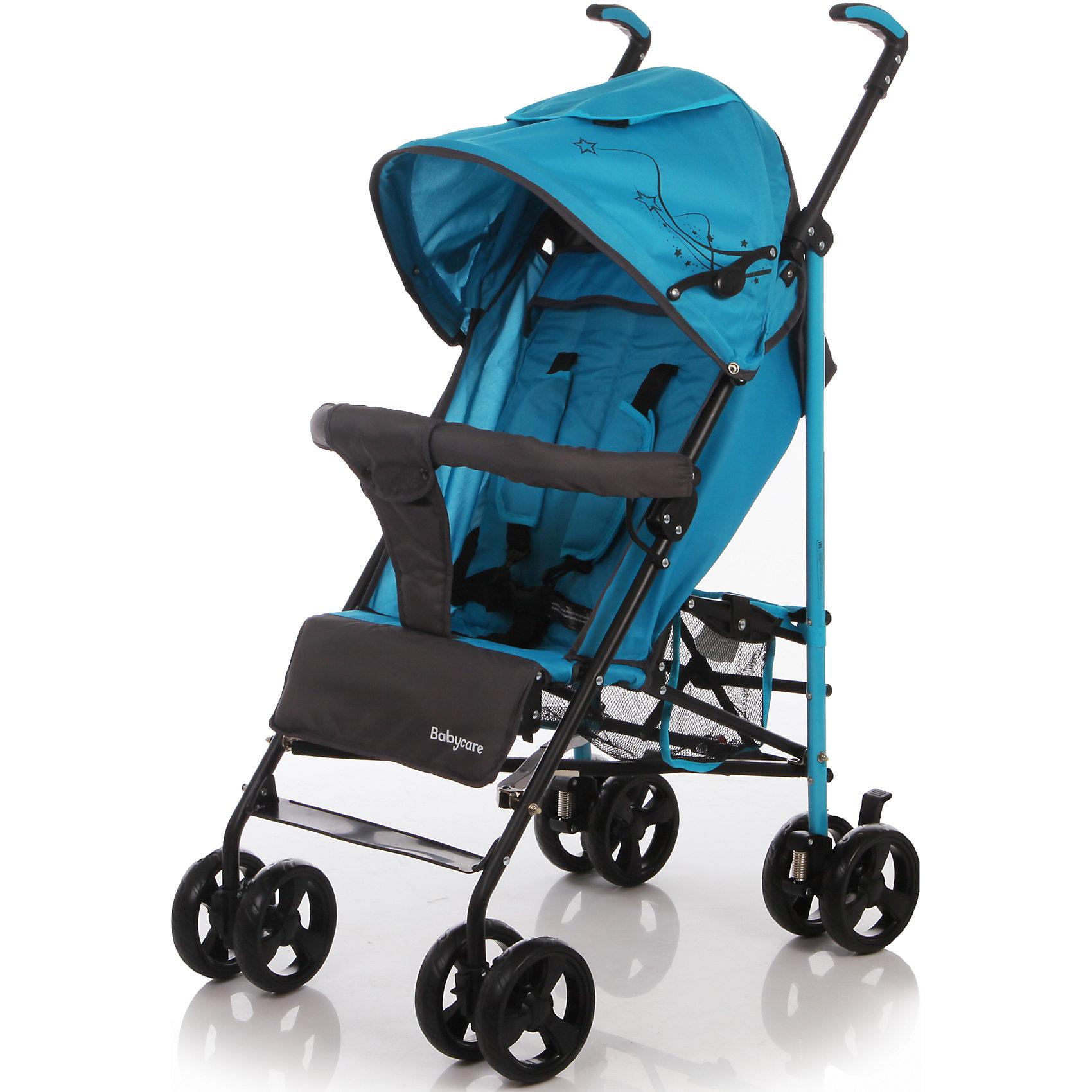 Коляска трость Flash, Baby Care, синийХарактеристики коляски-трости Baby Care Flash:<br><br>• спинка коляски регулируется в 2-х положениях: сидя и полулежа;<br>• подножка регулируется в 2-х положениях, удлиняет спальное место;<br>• встроенные 5-ти точечные ремни безопасности с мягкими накладками;<br>• глубокий капюшон с дополнительной секцией опускается до бампера;<br>• капюшон оснащен смотровым окошком и кармашком для мелочей;<br>• съемный бампер с мягким разделителем для ножек;<br>• имеется небольшая сетчатая корзина для покупок;<br>• материал: пластик, полиэстер;<br>• ширина сиденья: 34 см;<br>• размер коляски в разложенном виде: 74х40,5х106 см;<br>• размер коляски в сложенном виде: 101х29х36 см;<br>• вес коляски: 7,6 кг;<br>• допустимый вес ребенка: до 23 кг.<br><br>Характеристики шасси коляски:<br><br>• механизм складывания: трость;<br>• сдвоенные колеса коляски;<br>• передние поворотные с блокировкой;<br>• задний стояночный тормоз;<br>• материал рамы: алюминий;<br>• материал колес: пеноплен (вспененная резина);<br>• диаметр колес: 14 см;<br>• ширина колесной базы: 46 см;<br>• размер корзинки для покупок: 19х18х21 см.<br><br>Компактная коляска-трость предназначена для детей в возрасте от 7 месяцев до 4-х лет. Ребенок в коляске изучает окружающий мир, а когда устает, может принять положение «полулежа». Маневренная коляска с двойными колесами. Подножка может удлинить спальное место, а гибкая пластиковая подножка пригодится для малыша, который подрос.<br><br>Комплектация:<br><br>• коляска-трость Flash;<br>• дождевик;<br>• чехол на ножки;<br>• инструкция. <br><br>Коляску-трость Flash, Baby Care, синюю можно купить в нашем интернет-магазине.<br><br>Ширина мм: 1020<br>Глубина мм: 260<br>Высота мм: 280<br>Вес г: 14400<br>Цвет: синий<br>Возраст от месяцев: 7<br>Возраст до месяцев: 36<br>Пол: Унисекс<br>Возраст: Детский<br>SKU: 4501856