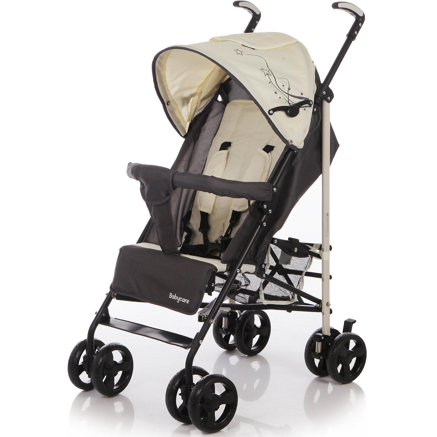 Коляска трость Flash, Baby Care, бежевыйХарактеристики коляски-трости Baby Care Flash:<br><br>• спинка коляски регулируется в 2-х положениях: сидя и полулежа;<br>• подножка регулируется в 2-х положениях, удлиняет спальное место;<br>• встроенные 5-ти точечные ремни безопасности с мягкими накладками;<br>• глубокий капюшон с дополнительной секцией опускается до бампера;<br>• капюшон оснащен смотровым окошком и кармашком для мелочей;<br>• съемный бампер с мягким разделителем для ножек;<br>• имеется небольшая сетчатая корзина для покупок;<br>• материал: пластик, полиэстер;<br>• ширина сиденья: 34 см;<br>• размер коляски в разложенном виде: 74х40,5х106 см;<br>• размер коляски в сложенном виде: 101х29х36 см;<br>• вес коляски: 7,6 кг;<br>• допустимый вес ребенка: до 23 кг.<br><br>Характеристики шасси коляски:<br><br>• механизм складывания: трость;<br>• сдвоенные колеса коляски;<br>• передние поворотные с блокировкой;<br>• задний стояночный тормоз;<br>• материал рамы: алюминий;<br>• материал колес: пеноплен (вспененная резина);<br>• диаметр колес: 14 см;<br>• ширина колесной базы: 46 см;<br>• размер корзинки для покупок: 19х18х21 см.<br><br>Компактная коляска-трость предназначена для детей в возрасте от 7 месяцев до 4-х лет. Ребенок в коляске изучает окружающий мир, а когда устает, может принять положение «полулежа». Маневренная коляска с двойными колесами. Подножка может удлинить спальное место, а гибкая пластиковая подножка пригодится для малыша, который подрос.<br><br>Комплектация:<br><br>• коляска-трость Flash;<br>• дождевик;<br>• чехол на ножки;<br>• инструкция. <br><br>Коляску-трость Flash, Baby Care, бежевую можно купить в нашем интернет-магазине.<br><br>Ширина мм: 1020<br>Глубина мм: 260<br>Высота мм: 280<br>Вес г: 14400<br>Цвет: бежевый<br>Возраст от месяцев: 7<br>Возраст до месяцев: 36<br>Пол: Унисекс<br>Возраст: Детский<br>SKU: 4501857