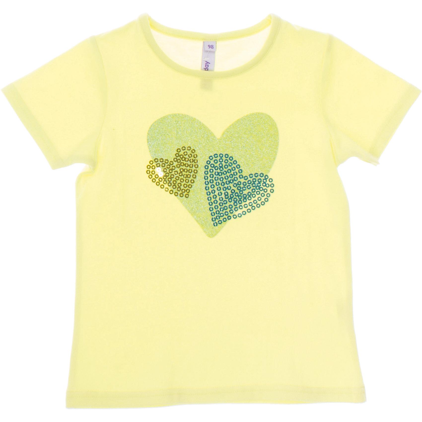 Футболка для девочки PlayTodayФутболка для девочки PlayToday <br><br>Состав: 95% хлопок, 5% эластан <br><br>Яркий лимонный цвет<br>Украшена сердечками из глиттера и пайеток<br><br>Ширина мм: 199<br>Глубина мм: 10<br>Высота мм: 161<br>Вес г: 151<br>Цвет: разноцветный<br>Возраст от месяцев: 60<br>Возраст до месяцев: 72<br>Пол: Женский<br>Возраст: Детский<br>Размер: 110,116,122,128,98,104<br>SKU: 4502025