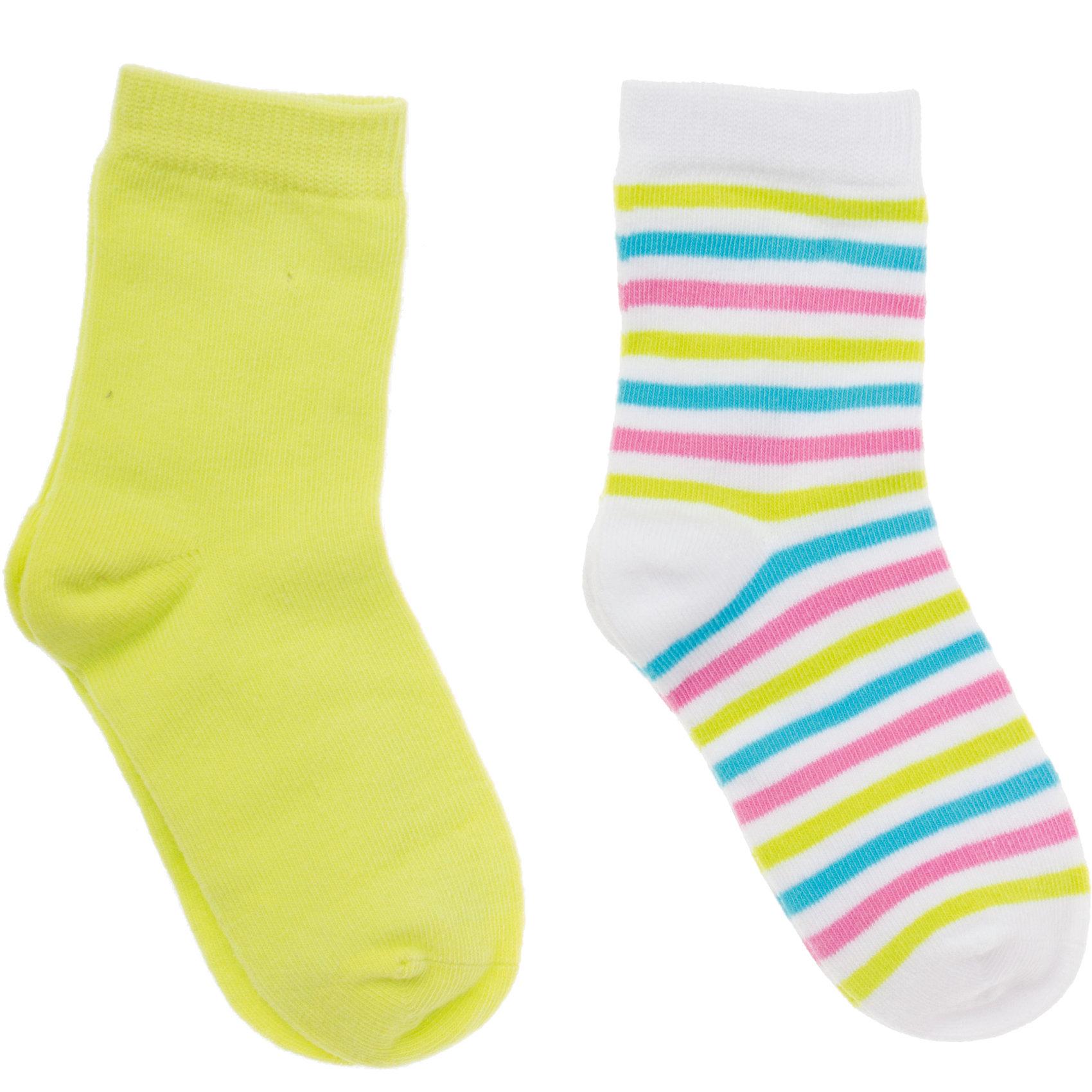 Носки ( 2 шт.) для девочки PlayTodayНоски<br>Носки для девочки PlayToday <br><br>Состав: 75% хлопок, 22% нейлон, 3% эластан <br><br>1 пара:<br>Цветные полоски - бирюзовые, розовые и лаймовые<br>Верх на мягкой резинке<br>2 пара:<br>Яркий лаймовый цвет<br>Верх на мягкой резинке<br><br>Ширина мм: 87<br>Глубина мм: 10<br>Высота мм: 105<br>Вес г: 115<br>Цвет: зеленый<br>Возраст от месяцев: 108<br>Возраст до месяцев: 132<br>Пол: Женский<br>Возраст: Детский<br>Размер: 16,14,18<br>SKU: 4502083