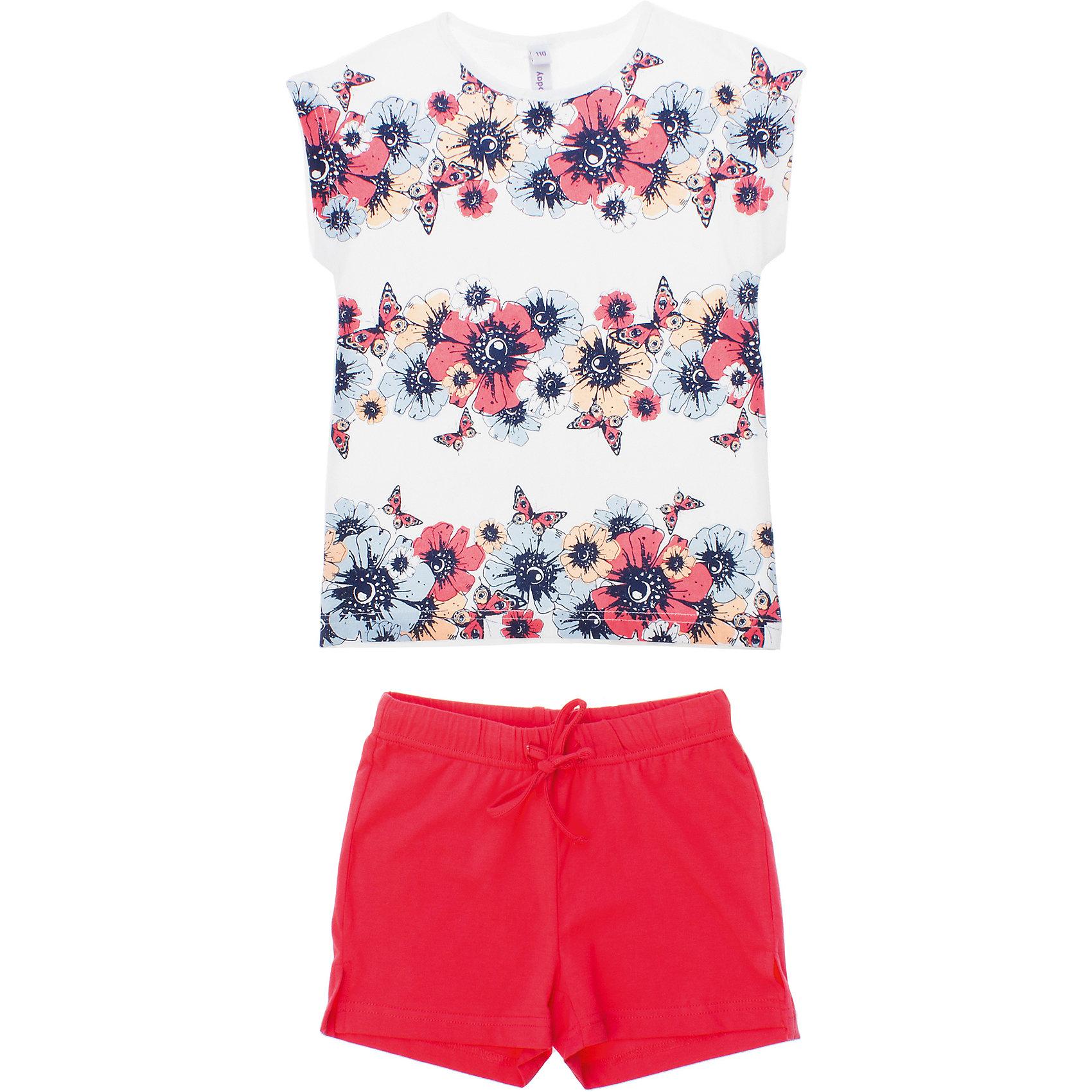 Комплект: футболка и шорты для девочки PlayTodayКомплекты<br>Комплект: футболка и шорты для девочки PlayToday <br><br>Состав: 95% хлопок, 5% эластан <br><br>Футболка:<br>Стильная конструкция со спущенным плечом <br>Украшена водным принтом с цветочками<br>Шорты:<br>Пояс на резинке<br>Регулирующий шнурок<br>Персиковый цвет<br><br>Ширина мм: 199<br>Глубина мм: 10<br>Высота мм: 161<br>Вес г: 151<br>Цвет: розовый<br>Возраст от месяцев: 72<br>Возраст до месяцев: 84<br>Пол: Женский<br>Возраст: Детский<br>Размер: 116,98,128,110,122,104<br>SKU: 4502147