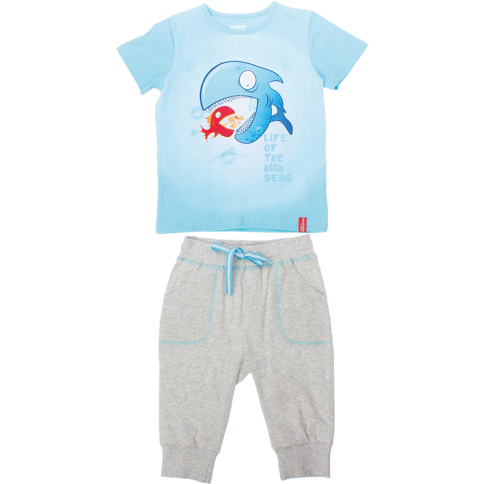 Комплект: футболка и бриджи для мальчика PlayTodayКомплект: футболка и бриджи для мальчика PlayToday <br><br>Состав: 95% хлопок, 5% эластан <br><br>Комплект из хлопковой майки и бридж. <br>Яркая голубая футболка с забавным принтом. <br>Легкие хлопковые бриджи с глубокими карманами.<br><br>Ширина мм: 199<br>Глубина мм: 10<br>Высота мм: 161<br>Вес г: 151<br>Цвет: синий<br>Возраст от месяцев: 48<br>Возраст до месяцев: 60<br>Пол: Мужской<br>Возраст: Детский<br>Размер: 104,110,128,122,116,98<br>SKU: 4502637