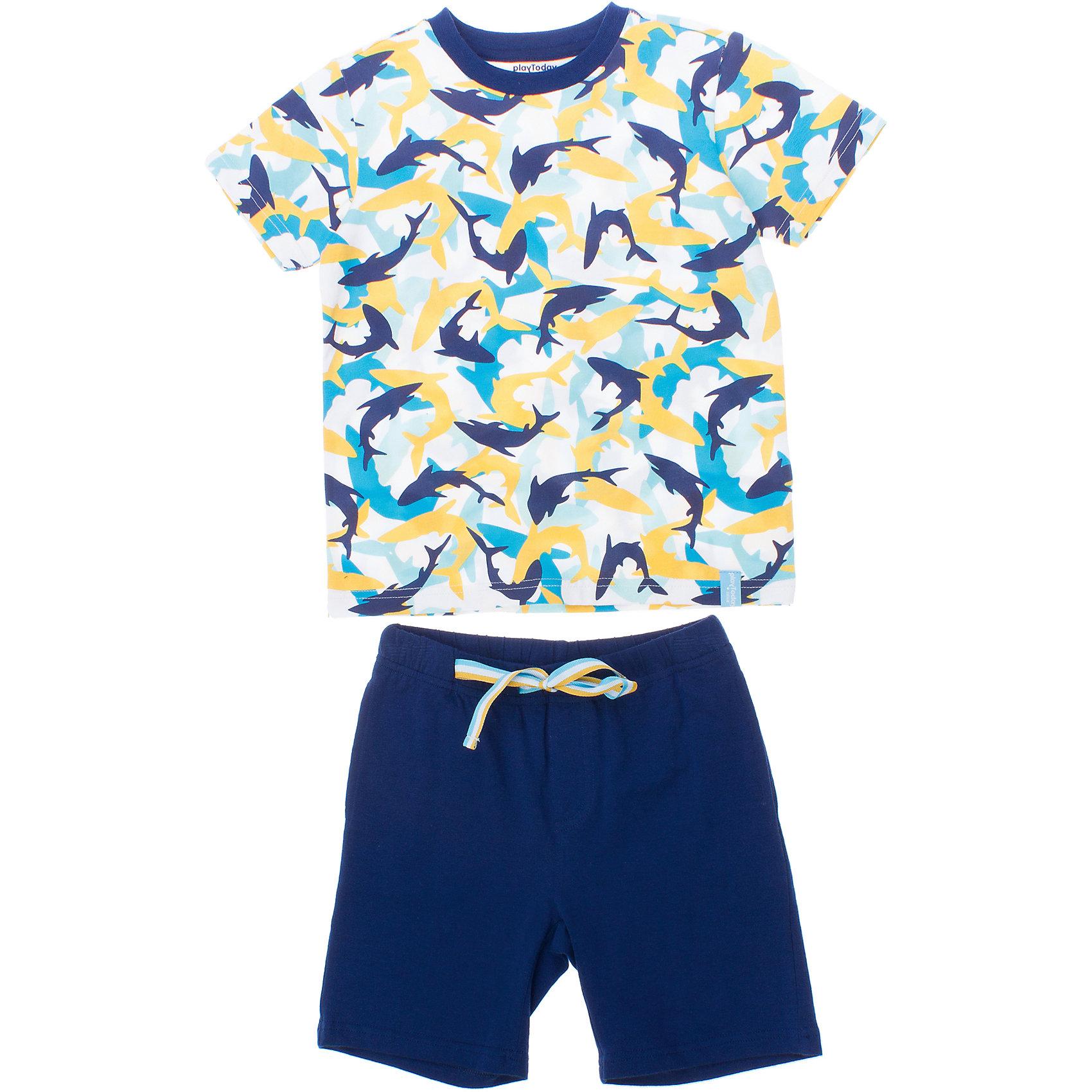 Комплект: футболка и шорты для мальчика PlayTodayКомплект: футболка и шорты для мальчика PlayToday <br><br>Состав: 95% хлопок, 5% эластан <br><br>Комплект из хлопковой футболки и шорт. <br>Шорты с двумя функциональными карманами. <br>На поясе широкая резинка.<br><br>Ширина мм: 199<br>Глубина мм: 10<br>Высота мм: 161<br>Вес г: 151<br>Цвет: синий<br>Возраст от месяцев: 84<br>Возраст до месяцев: 96<br>Пол: Мужской<br>Возраст: Детский<br>Размер: 122,104,110,98,116,128<br>SKU: 4502651