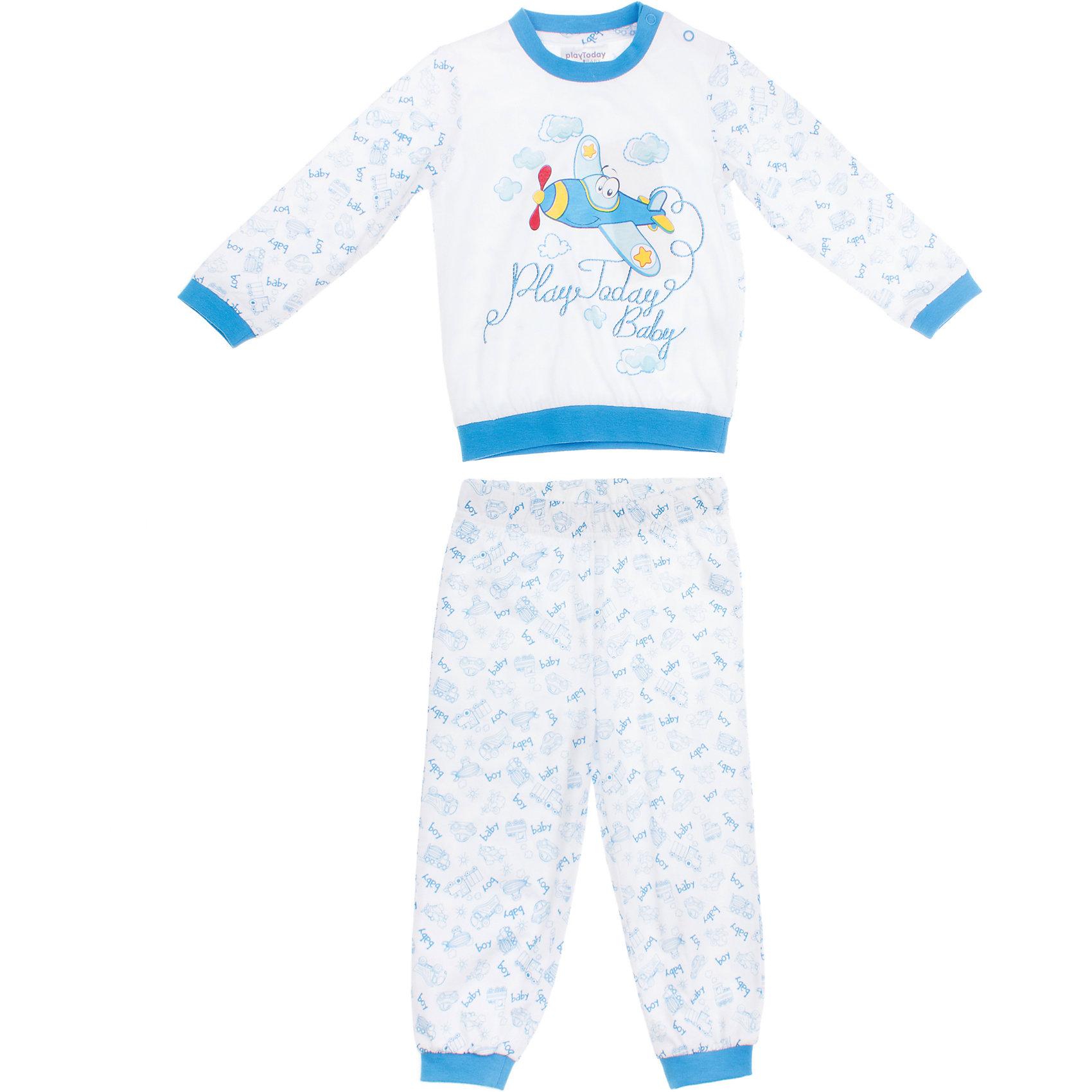 Комплект: футболка с длинным рукавом и брюки для мальчика PlayTodayКомплект: футболка с длинным рукавом и брюки для мальчика PlayToday <br><br>Состав: 100% хлопок <br><br>Комплект из футболки с длинными рукавами и спортивных брюк. <br>Футболка украшена водным принтом с самолетом. <br>Рукава и низ на резинке. <br>Застегивается на кнопки на плече. <br>Пояс и низ штанишек на мягкой резинке, есть регулирующий шнурок.<br><br>Ширина мм: 199<br>Глубина мм: 10<br>Высота мм: 161<br>Вес г: 151<br>Цвет: голубой<br>Возраст от месяцев: 18<br>Возраст до месяцев: 24<br>Пол: Мужской<br>Возраст: Детский<br>Размер: 92,74,86,80<br>SKU: 4502849