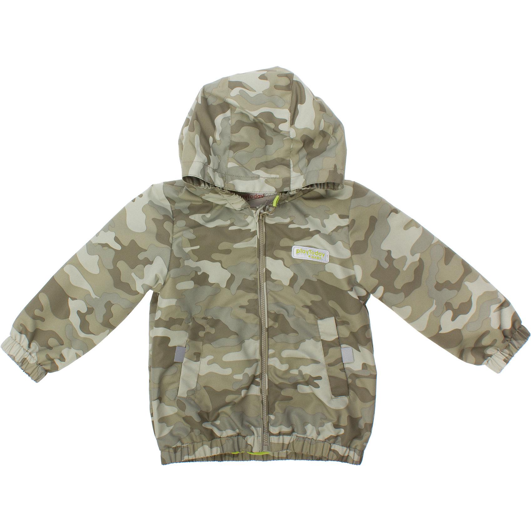 Куртка для мальчика PlayTodayКуртка для мальчика PlayToday <br><br>Состав: <br>Верх: 100% полиэстер<br>Подкладка: 100% хлопок <br><br>В стиле милитари<br>Капюшон, рукава и них на резинке<br>Два кармашка<br>Внутри мягкая трикотажная подкладка ярко-зеленого цвета<br>Застегивается на молнию с защитой подбородка<br>Удобный пуллер<br><br>Ширина мм: 356<br>Глубина мм: 10<br>Высота мм: 245<br>Вес г: 519<br>Цвет: серый<br>Возраст от месяцев: 9<br>Возраст до месяцев: 12<br>Пол: Мужской<br>Возраст: Детский<br>Размер: 74,92,80,86<br>SKU: 4502882