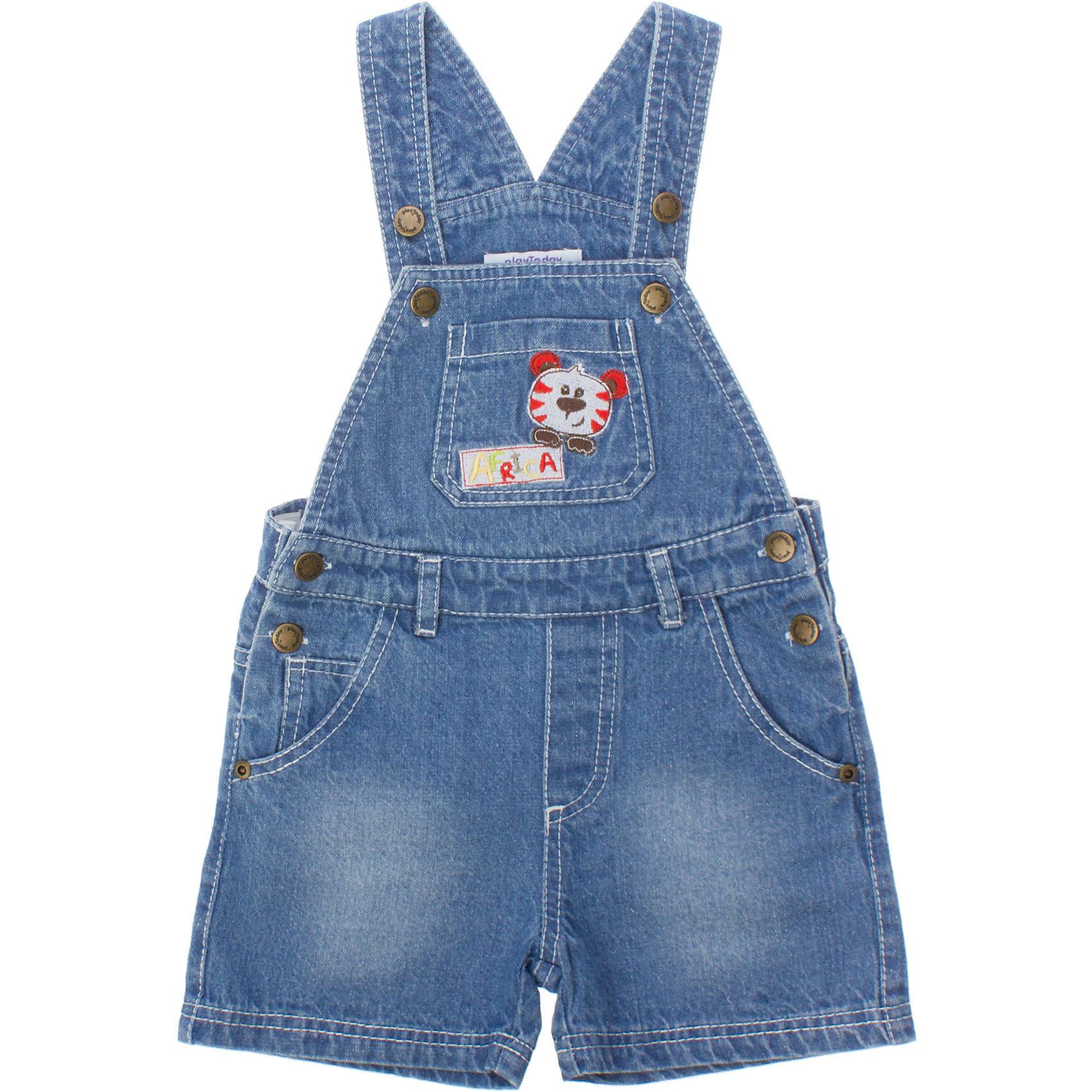 Комбинезон джинсовый для мальчика PlayTodayДжинсовая одежда<br>Комбинезон для мальчика PlayToday <br><br>Состав: 100% хлопок <br><br>Застежки - металлические болты<br>Есть кармашки, 2 сбоку и 1 на груди<br>На кармане вышивка с тигренком<br><br>Ширина мм: 157<br>Глубина мм: 13<br>Высота мм: 119<br>Вес г: 200<br>Цвет: разноцветный<br>Возраст от месяцев: 9<br>Возраст до месяцев: 12<br>Пол: Мужской<br>Возраст: Детский<br>Размер: 92,86,80,74<br>SKU: 4502887