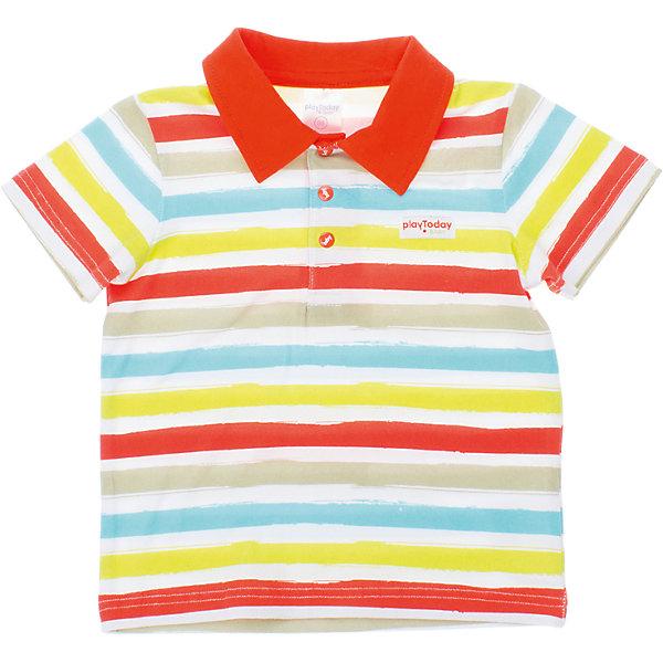 Футболка-поло для мальчика PlayTodayФутболки, топы<br>Футболка для мальчика PlayToday <br><br>Состав: 95% хлопок, 5% эластан <br><br>Воротник поло оранжевого цвета<br>Застежки-кнопки на воротнике<br><br>Ширина мм: 199<br>Глубина мм: 10<br>Высота мм: 161<br>Вес г: 151<br>Цвет: белый<br>Возраст от месяцев: 9<br>Возраст до месяцев: 12<br>Пол: Мужской<br>Возраст: Детский<br>Размер: 74,80,86,92<br>SKU: 4502927