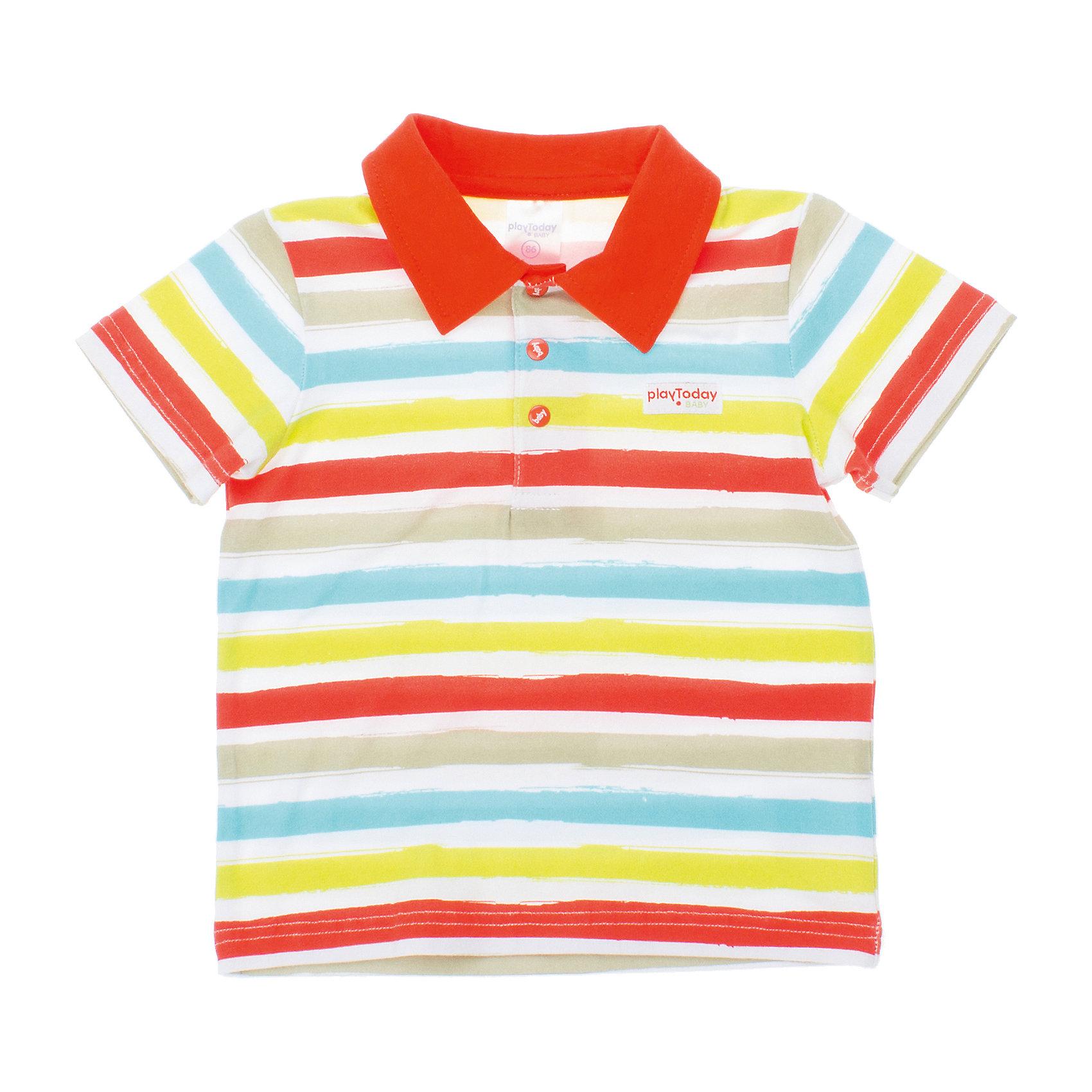 Футболка-поло для мальчика PlayTodayФутболки, поло и топы<br>Футболка для мальчика PlayToday <br><br>Состав: 95% хлопок, 5% эластан <br><br>Воротник поло оранжевого цвета<br>Застежки-кнопки на воротнике<br><br>Ширина мм: 199<br>Глубина мм: 10<br>Высота мм: 161<br>Вес г: 151<br>Цвет: белый<br>Возраст от месяцев: 9<br>Возраст до месяцев: 12<br>Пол: Мужской<br>Возраст: Детский<br>Размер: 74,80,92,86<br>SKU: 4502927