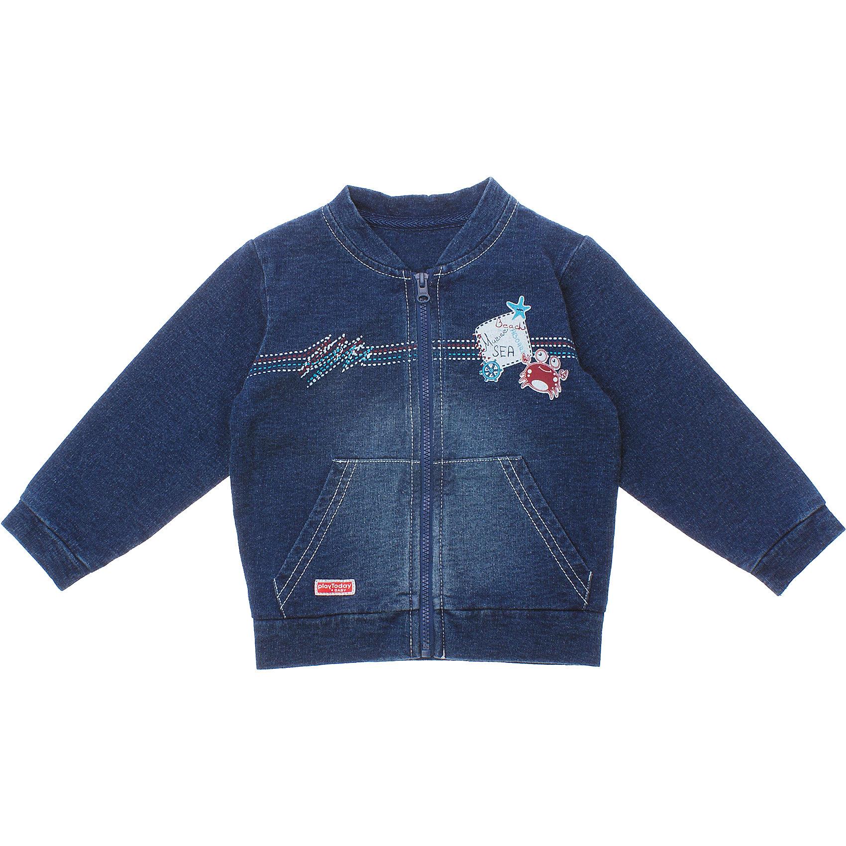 Куртка джинсовая для мальчика PlayTodayВерхняя одежда<br>Кофточка для мальчика PlayToday <br><br>Состав: 100% хлопок <br><br>Материал - футтер с имитацией денима.<br>Застегивается на молнию.<br>Рукава и низ на резинке.<br>Есть два кармашка.<br>Украшена резиновым принтом с крабом.<br><br>Ширина мм: 157<br>Глубина мм: 13<br>Высота мм: 119<br>Вес г: 200<br>Цвет: синий<br>Возраст от месяцев: 0<br>Возраст до месяцев: 3<br>Пол: Мужской<br>Возраст: Детский<br>Размер: 56,62,74,68<br>SKU: 4502967