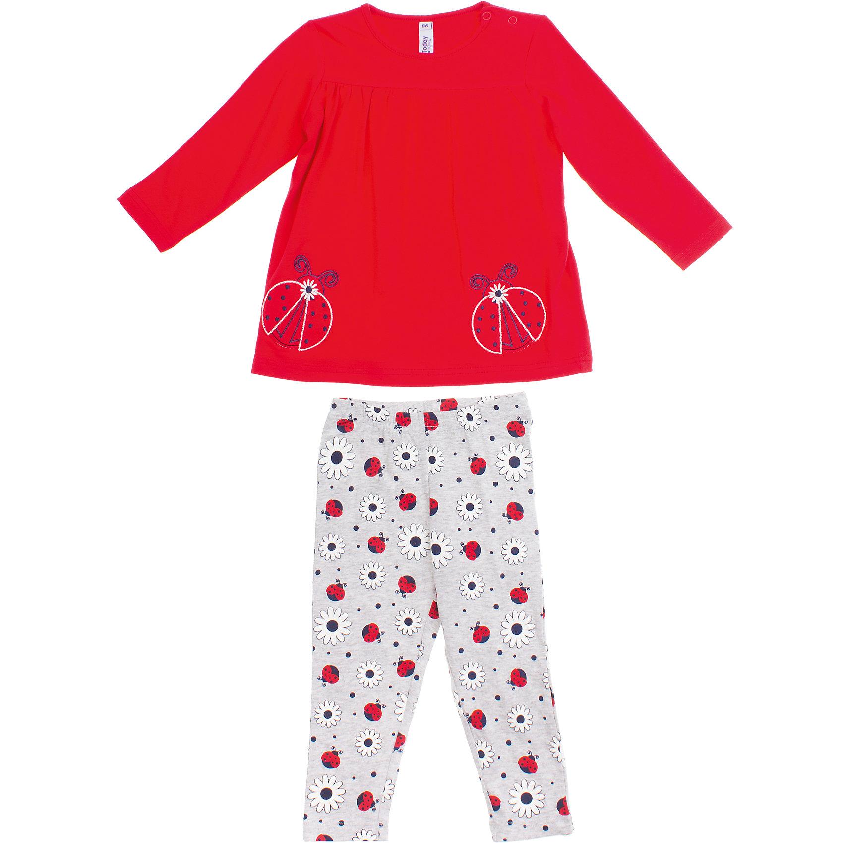 Комплект: футболка и леггинсы для девочки PlayTodayКомплект: футболка и леггинсы для девочки PlayToday <br><br>Состав: 95% хлопок, 5% эластан <br><br>Футболка:<br>Застежки-кнопки на плече<br>Украшена аппликацией и вышивкой с божьими коровками<br>Удлиненная модель<br>Брюки:<br>Ткань в набивку с бодьими коровками и ромашками<br>Цвет - серый меланж<br>Пояс на резинке<br><br>Ширина мм: 199<br>Глубина мм: 10<br>Высота мм: 161<br>Вес г: 151<br>Цвет: красный<br>Возраст от месяцев: 9<br>Возраст до месяцев: 12<br>Пол: Женский<br>Возраст: Детский<br>Размер: 74,80,86,92<br>SKU: 4503155