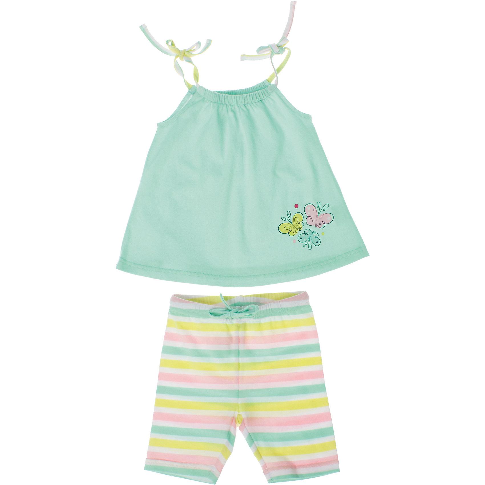Комплект: майка и шорты для девочки PlayTodayКомплект: майка и шорты для девочки PlayToday <br><br>Состав: 95% хлопок, 5% эластан <br><br>Майка:<br>Верх майки на резинках и регулирующихся завязках.<br>Расклешенная книзу.<br>Украшена резиновым принтом с бабочками.<br>Шорты:<br>Пояс на резинкес регулирующимся шнуром.<br>Ткань в полоску пестровязанная.<br><br>Ширина мм: 199<br>Глубина мм: 10<br>Высота мм: 161<br>Вес г: 151<br>Цвет: разноцветный<br>Возраст от месяцев: 12<br>Возраст до месяцев: 15<br>Пол: Женский<br>Возраст: Детский<br>Размер: 80,92,86,74<br>SKU: 4503213