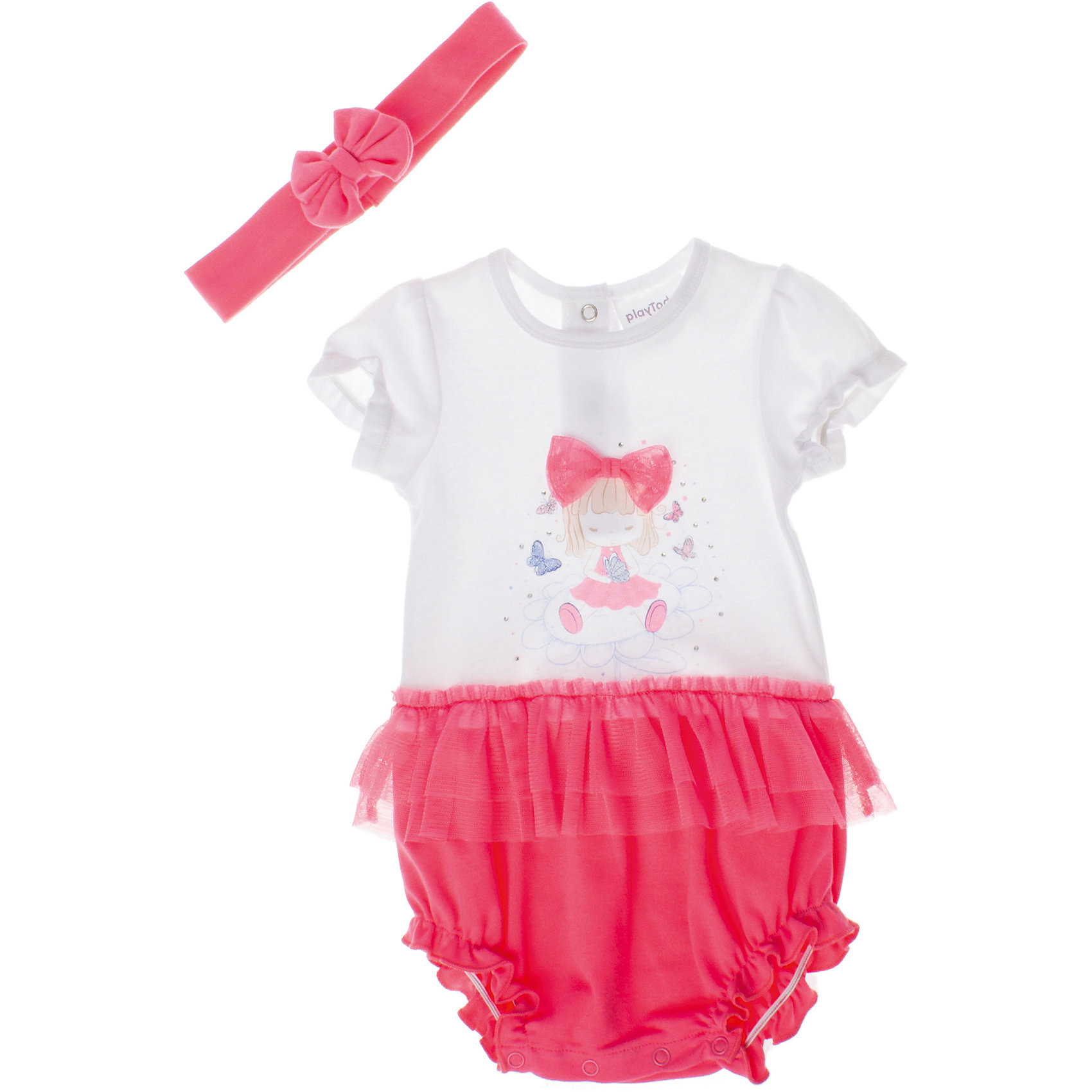 Комплект: боди и повязка для девочки PlayTodayКомплекты<br>Комплект: боди и повязка для девочки PlayToday <br><br>Состав: 100% хлопок <br><br>Мягкое боди с юбкой.<br>Застегивается на кнопки снизу и на спинке.<br>Маленькая сетчатая юбка притачена к боди.<br>Рукава и низ на резинке.<br>На груди водный принт и глиттер.<br>В комплекте повязка с бантиком.<br><br>Ширина мм: 157<br>Глубина мм: 13<br>Высота мм: 119<br>Вес г: 200<br>Цвет: розовый<br>Возраст от месяцев: 0<br>Возраст до месяцев: 3<br>Пол: Женский<br>Возраст: Детский<br>Размер: 56,68,74,62<br>SKU: 4503303