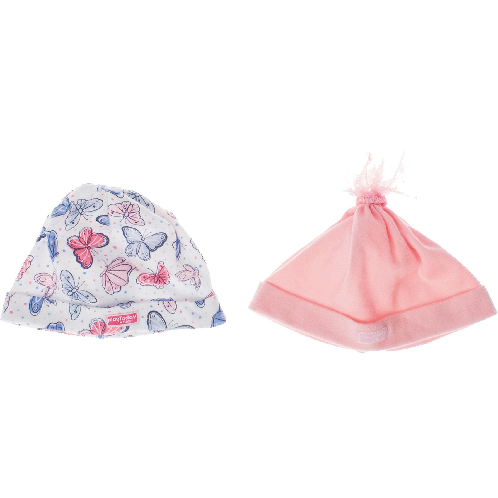 Шапочка (2 шт.) для девочки PlayTodayШапочка для девочки PlayToday <br><br>Состав: 100% хлопок <br><br>Комплект из двух шапочек для малышки. <br>Нежно-розовый цвет, ткань в набивку с нежными бабочками. <br>Есть отвороты.<br><br>Ширина мм: 89<br>Глубина мм: 117<br>Высота мм: 44<br>Вес г: 155<br>Цвет: розовый<br>Возраст от месяцев: 6<br>Возраст до месяцев: 12<br>Пол: Женский<br>Возраст: Детский<br>Размер: 44,40,42<br>SKU: 4503321