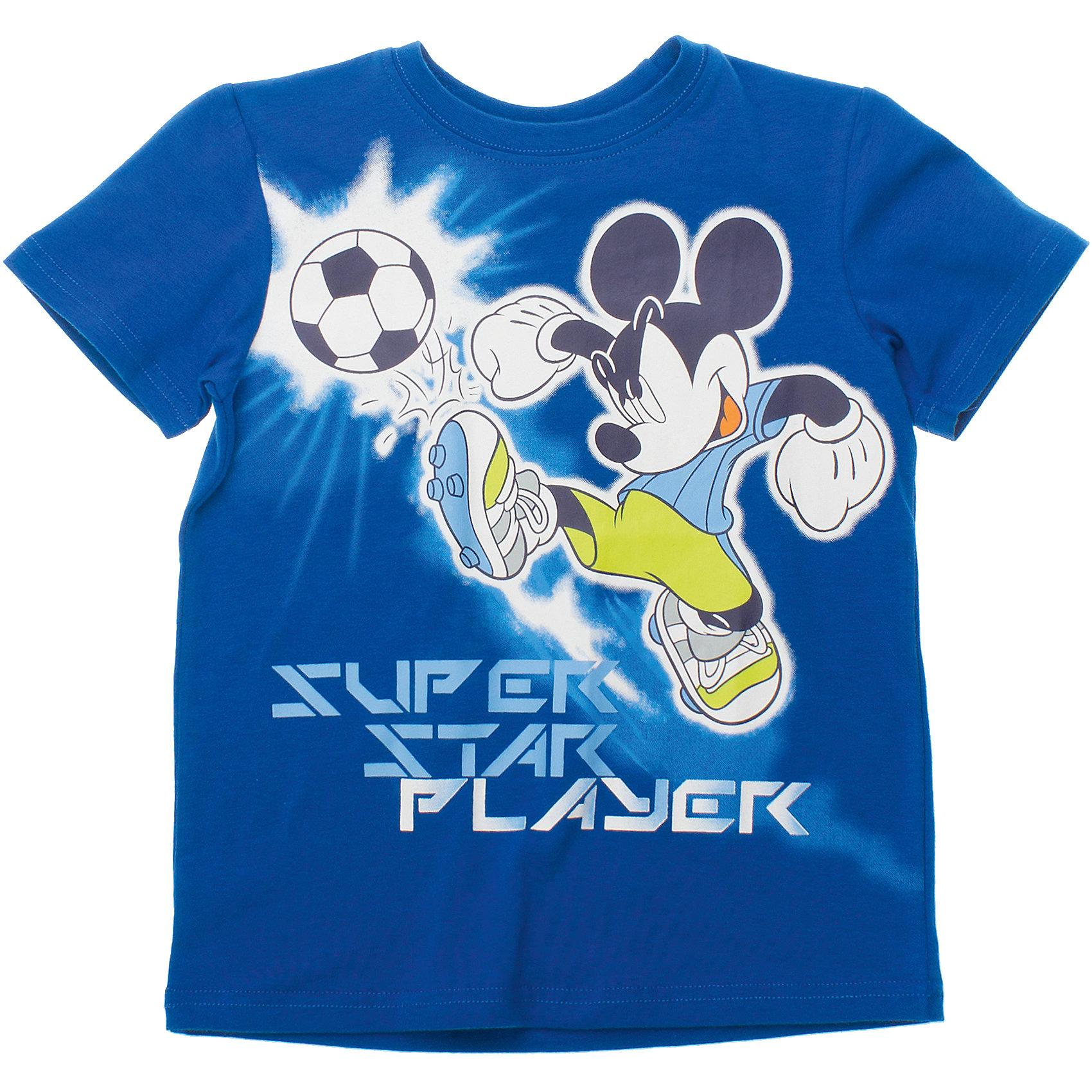 Футболка для мальчика PlayTodayФутболки, поло и топы<br>Футболка для мальчика PlayToday <br><br>Состав: 95% хлопок, 5% эластан <br><br>Яркая футболка в спортивном стиле из органического хлопка. <br>Принт по лицензии Disney.<br><br>Ширина мм: 199<br>Глубина мм: 10<br>Высота мм: 161<br>Вес г: 151<br>Цвет: синий<br>Возраст от месяцев: 84<br>Возраст до месяцев: 96<br>Пол: Мужской<br>Возраст: Детский<br>Размер: 122,104,98,110,116,128<br>SKU: 4503480